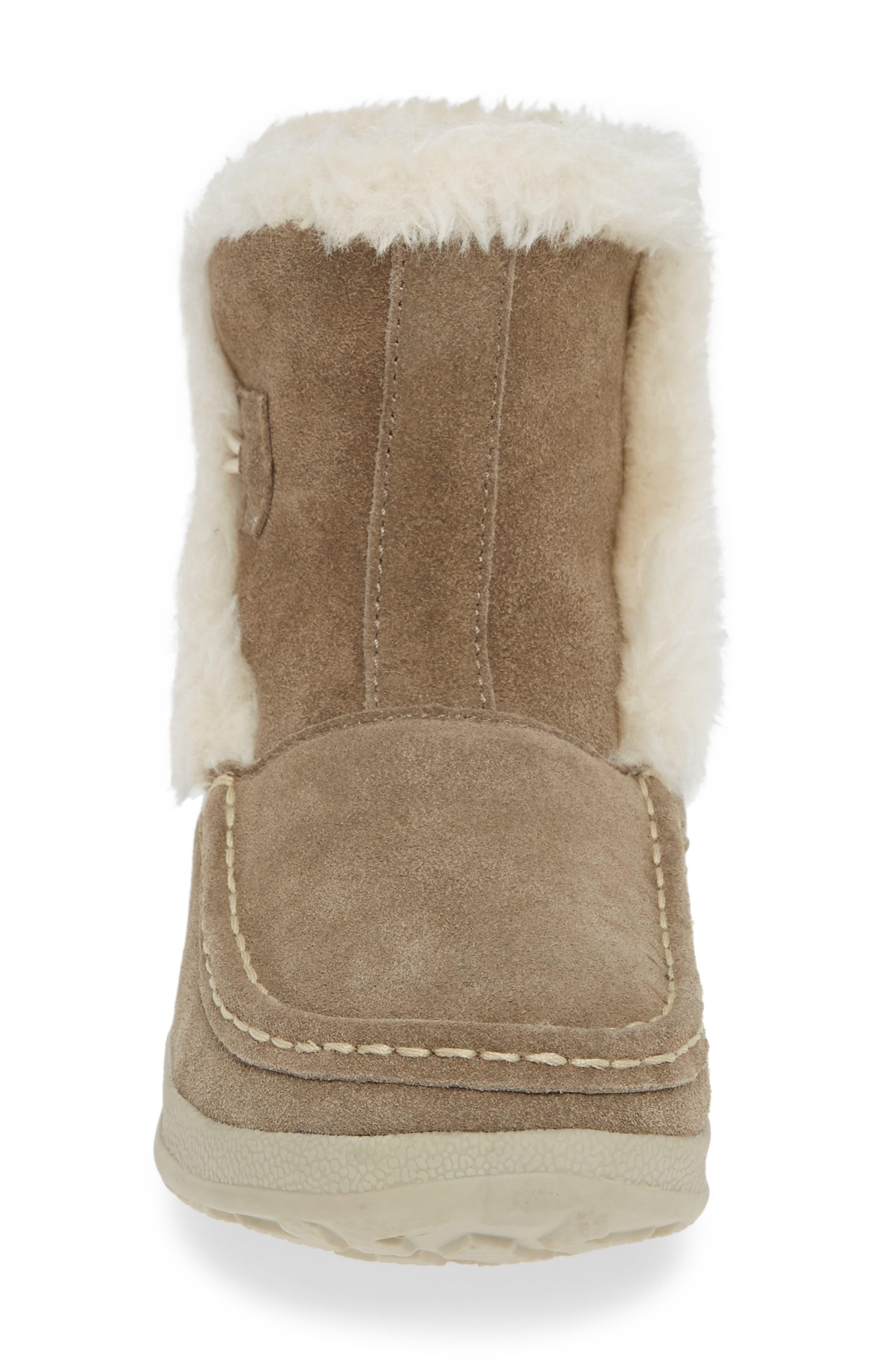 WOOLRICH,                             Pine Creek II Faux Fur Trim Boot,                             Alternate thumbnail 4, color,                             STEEL/ HERRINGBONE SUEDE