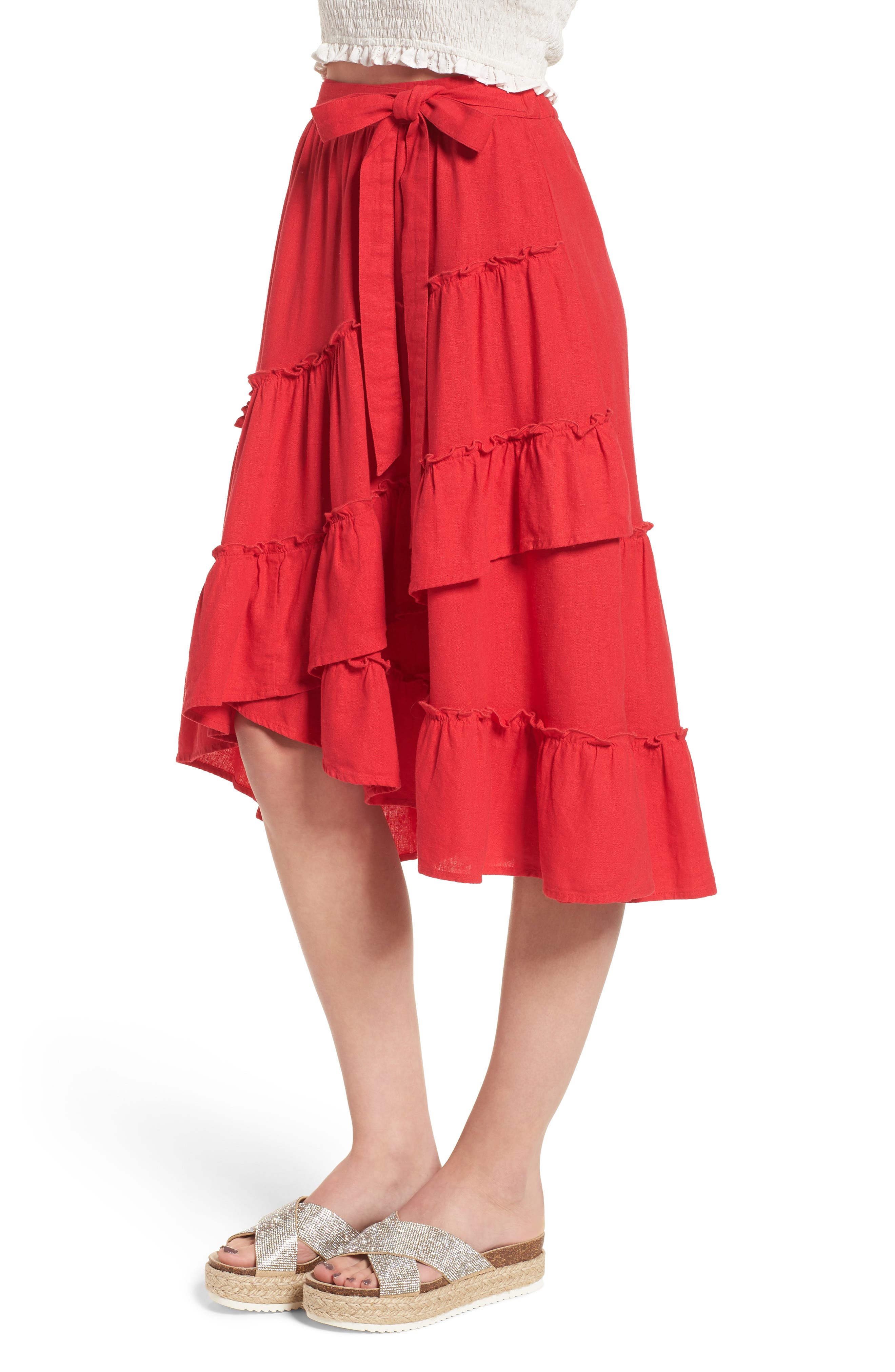 Tiered Faux Wrap Skirt,                             Alternate thumbnail 3, color,