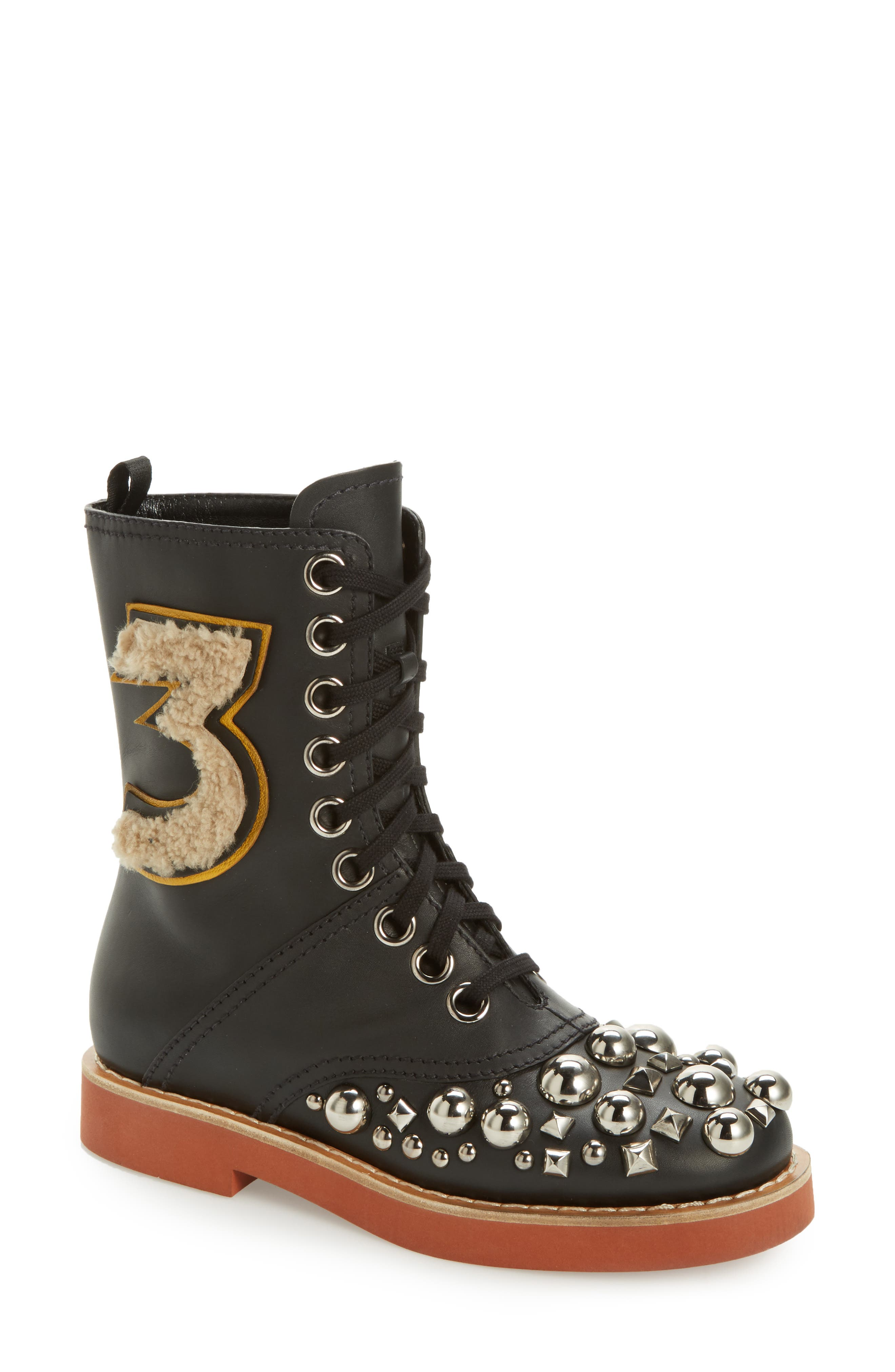 Genuine Shearling Trim Studded Lace-Up Boot,                             Main thumbnail 1, color,                             001