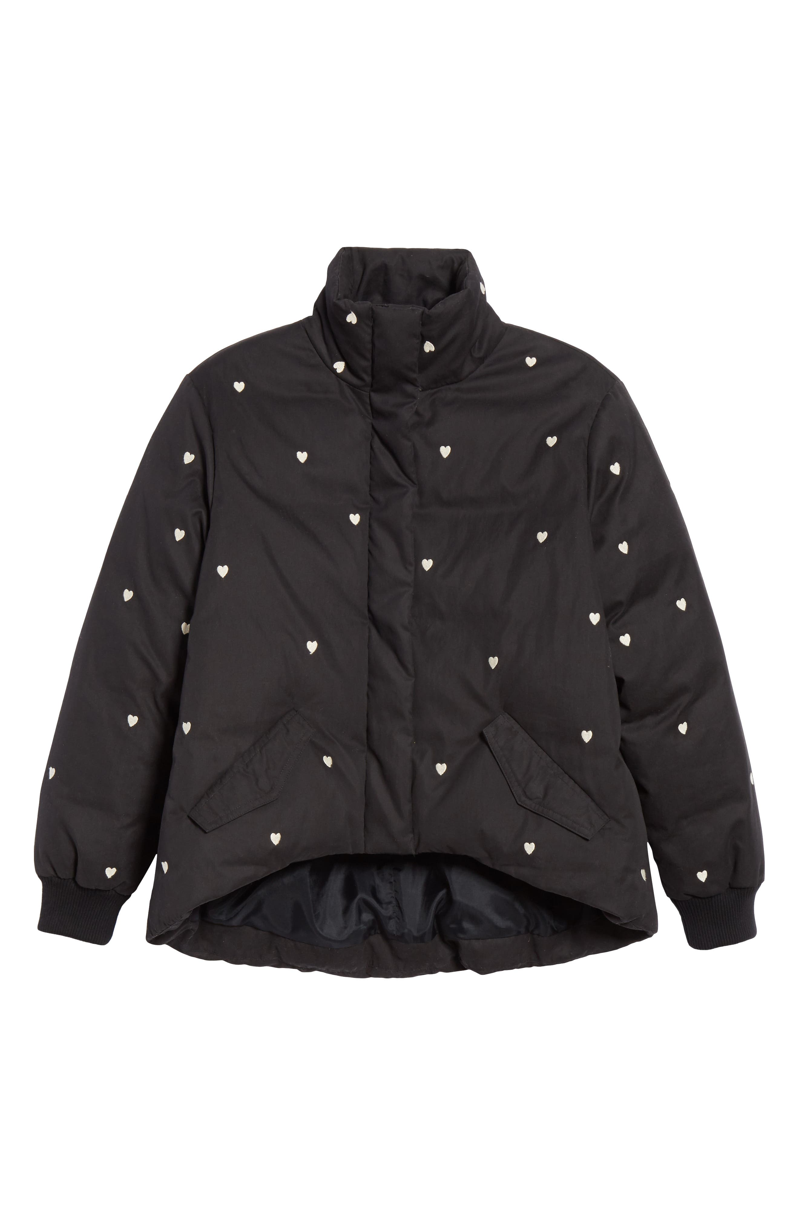 Heart Embroidered Puffer Coat,                             Alternate thumbnail 6, color,                             019