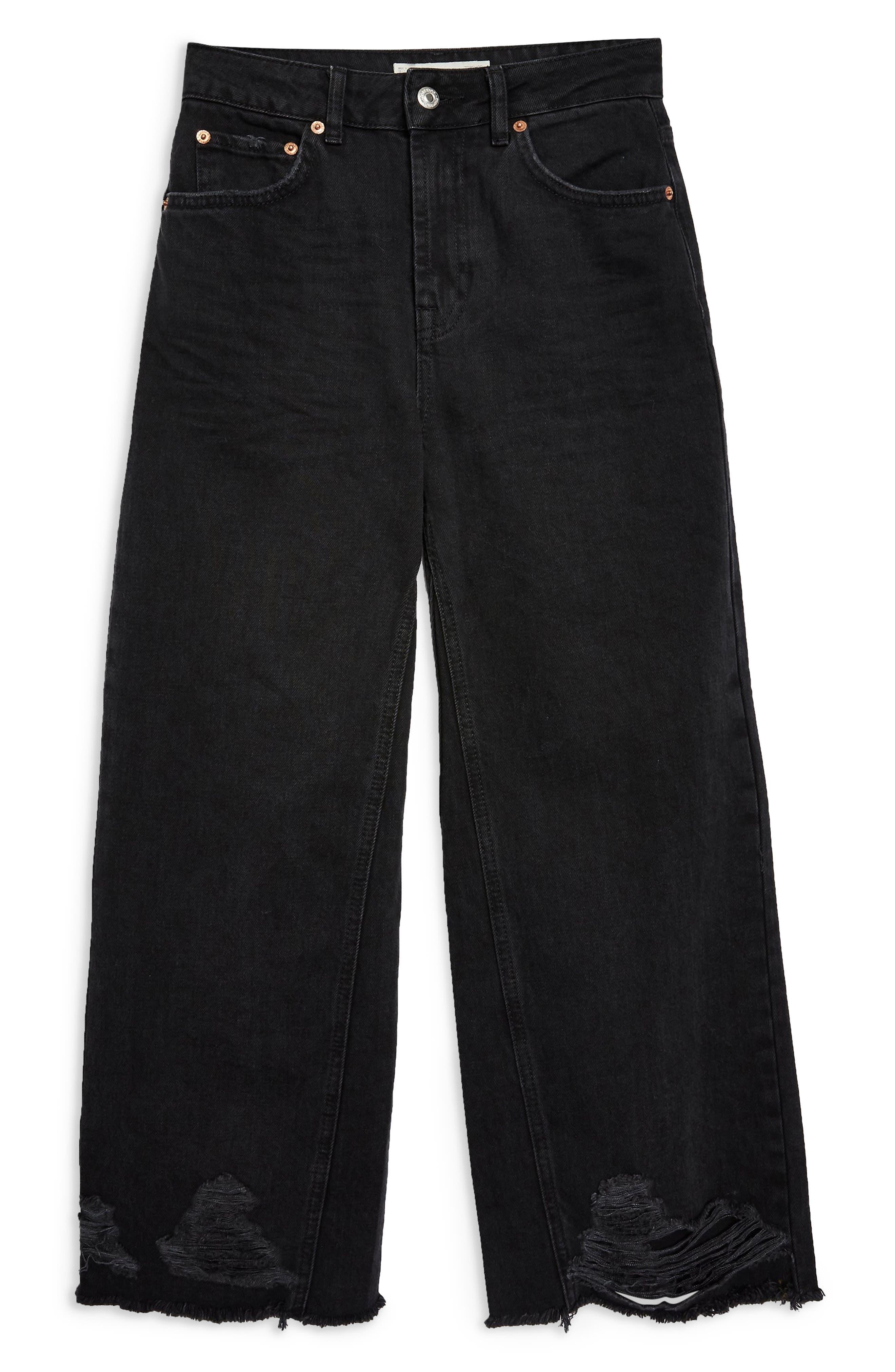 Crop Ladder Hem Jeans,                             Alternate thumbnail 4, color,                             WASHED BLACK