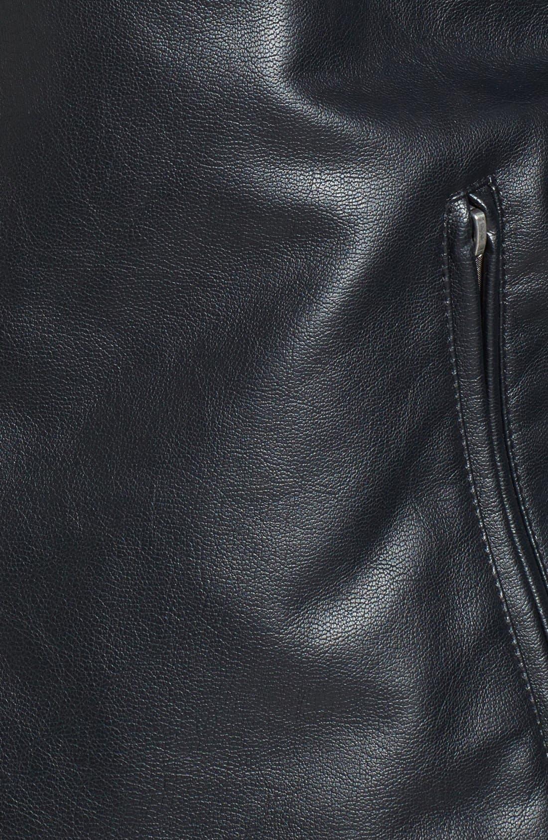 Faux Leather Varsity Jacket,                             Alternate thumbnail 2, color,                             001