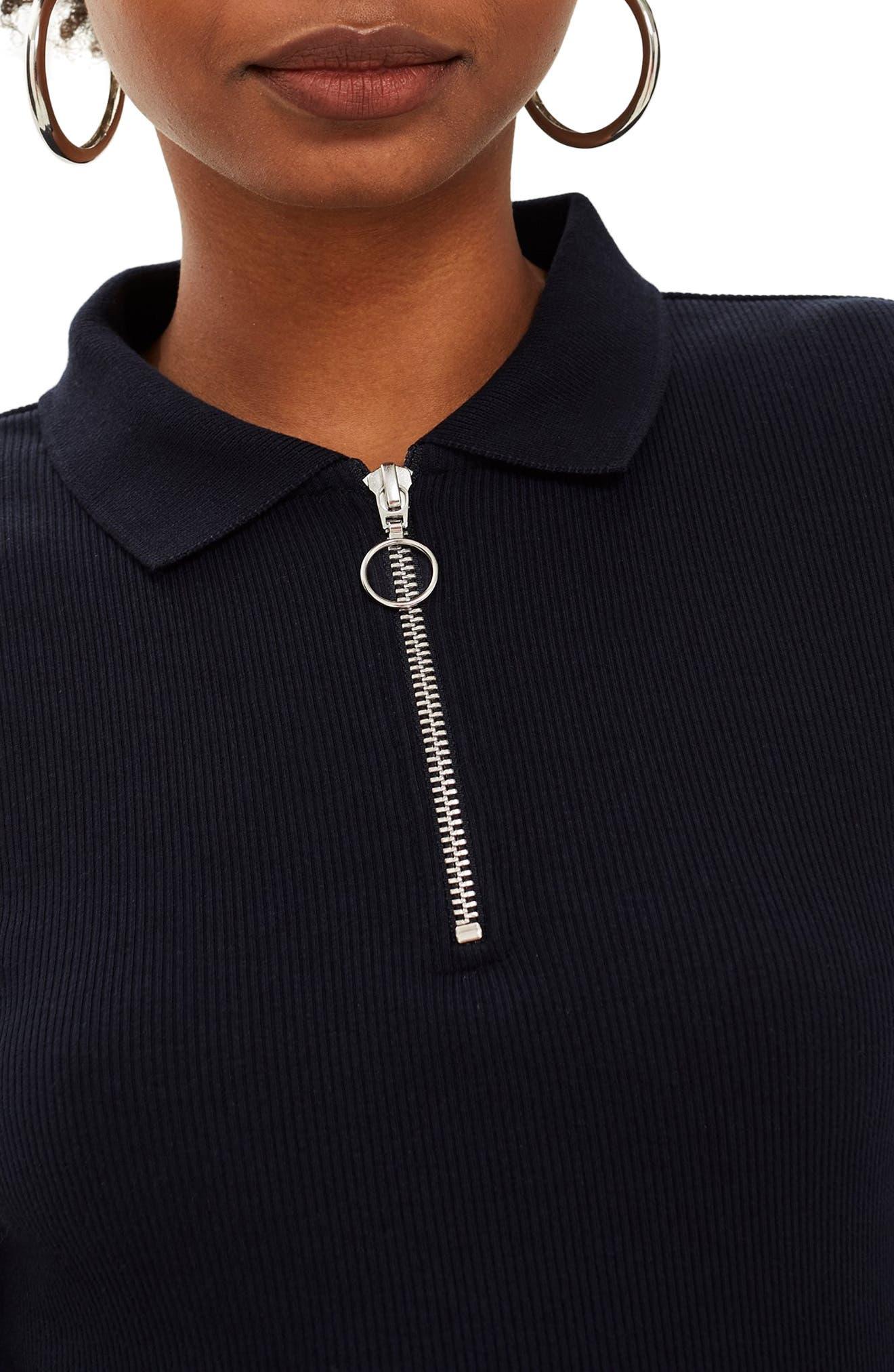 Front Zip Polo Shirt,                             Alternate thumbnail 3, color,                             NAVY BLUE