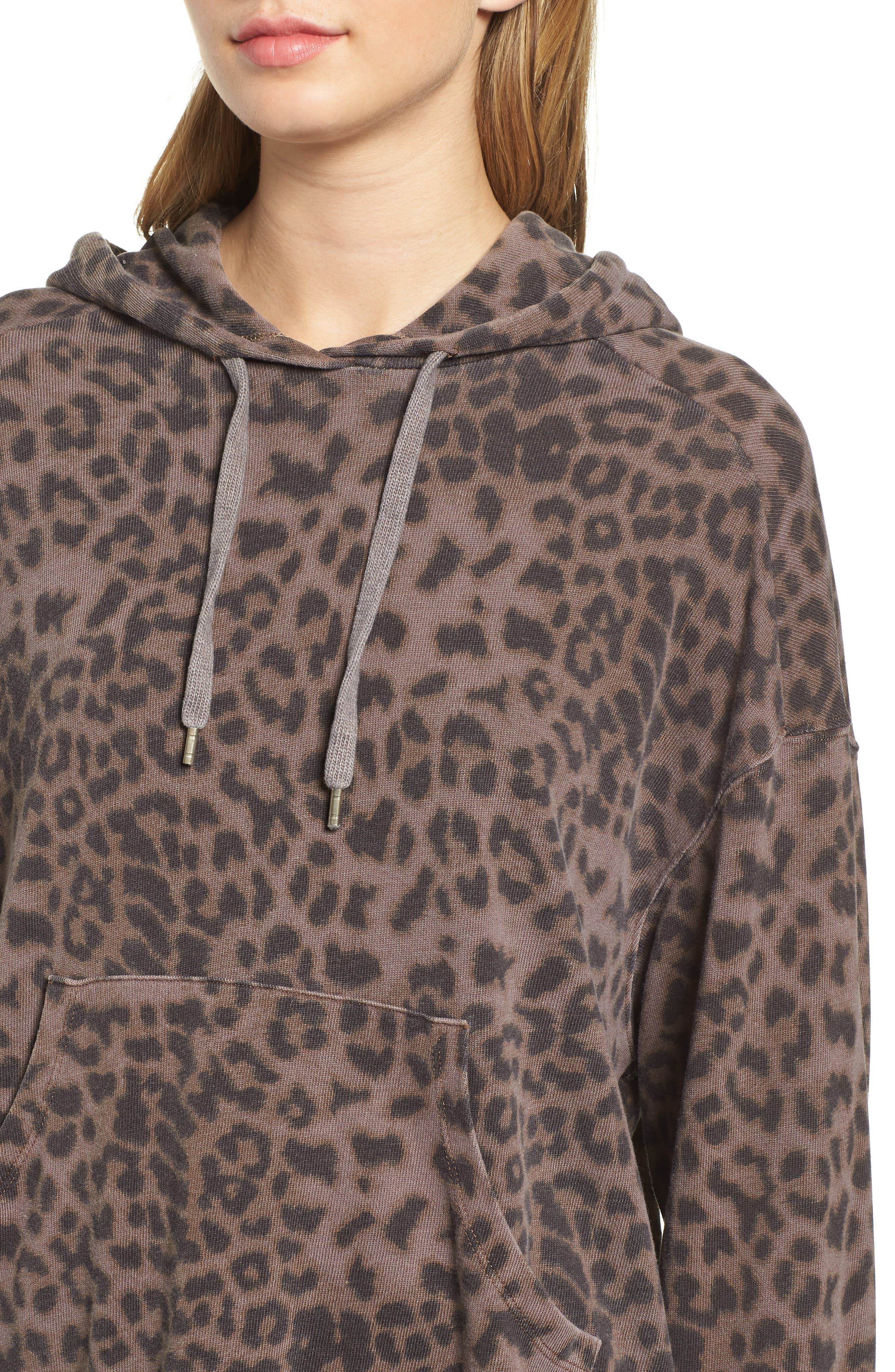 Leopard Spot Crop Hoodie,                             Alternate thumbnail 4, color,                             200