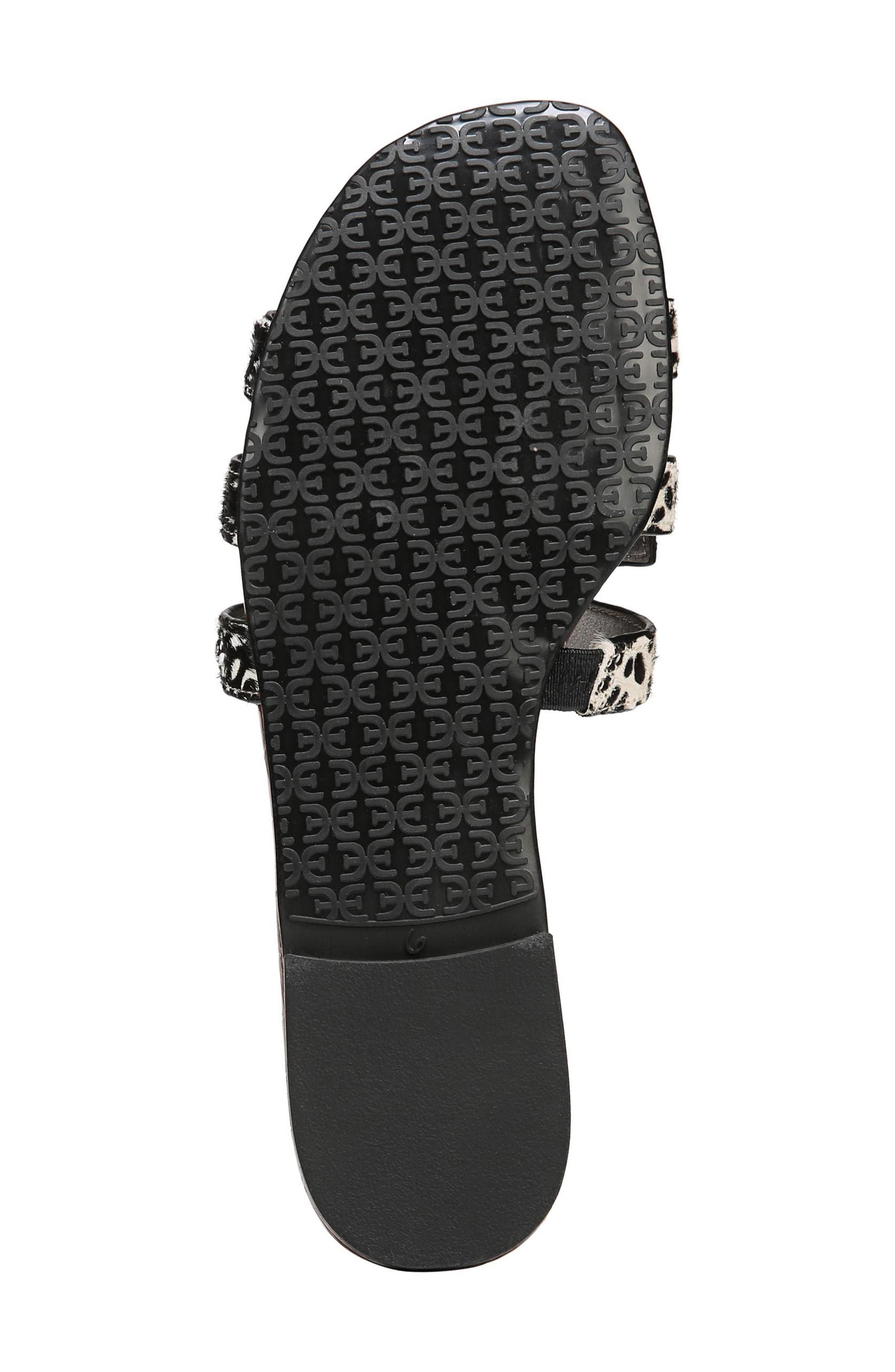 Bay Genuine Calf Hair Slide Sandal,                             Alternate thumbnail 6, color,                             BLACK/ IVORY BRAHMA HAIR