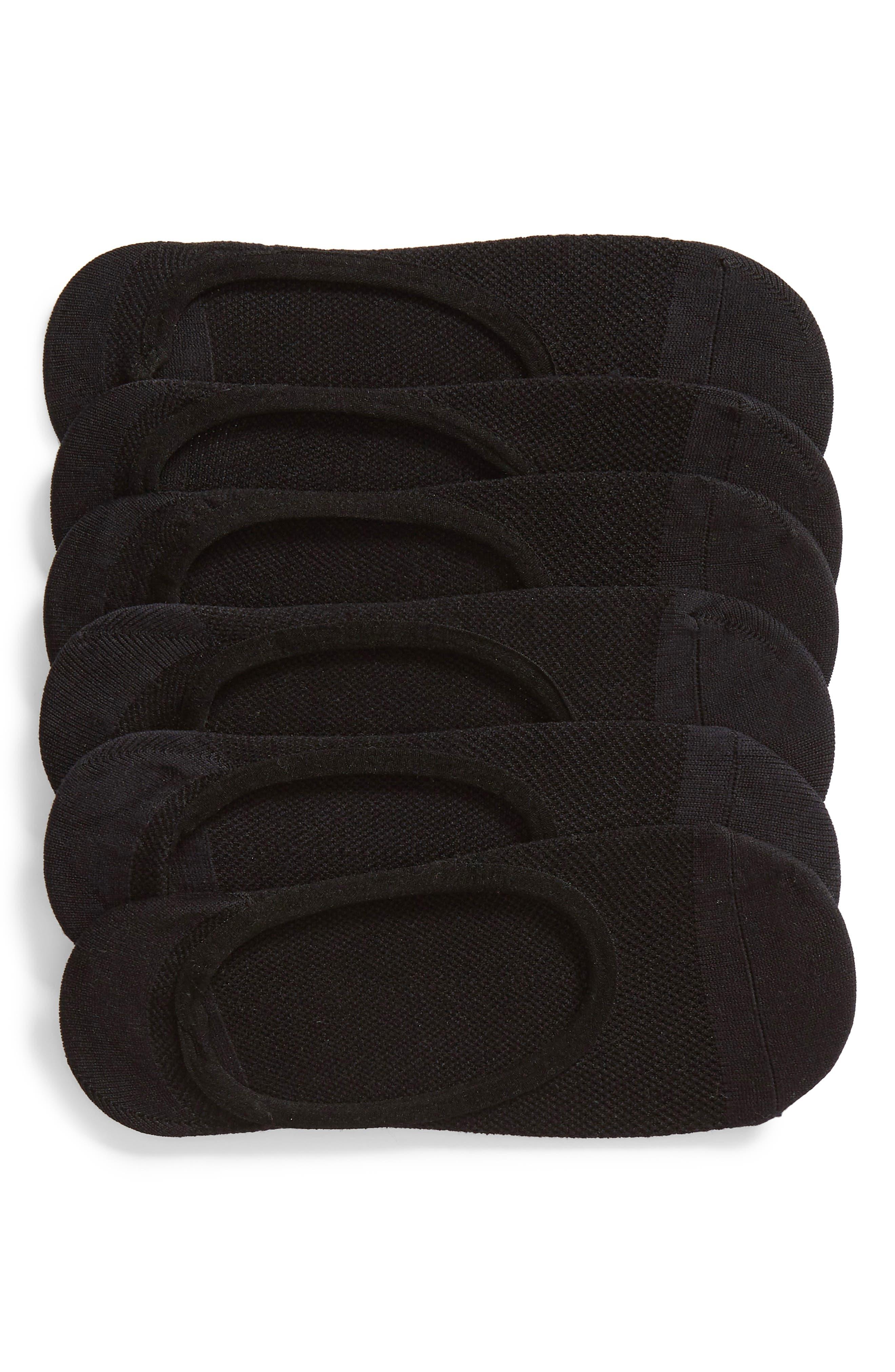 6-Pack No-Show Liner Socks, Main, color, BLACK