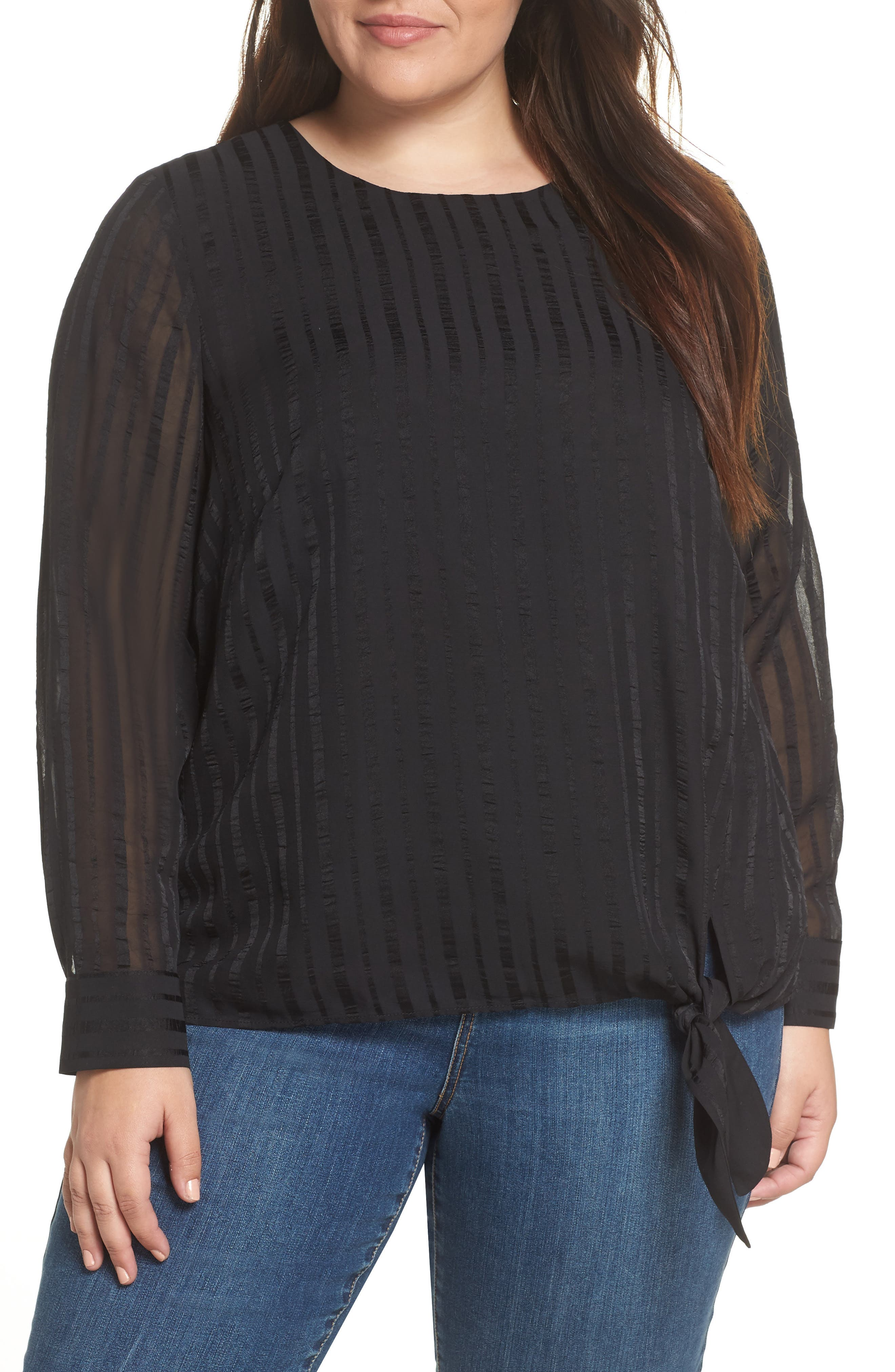 &.LAYERED Side Tie Shadow Stripe Top, Main, color, BLACK