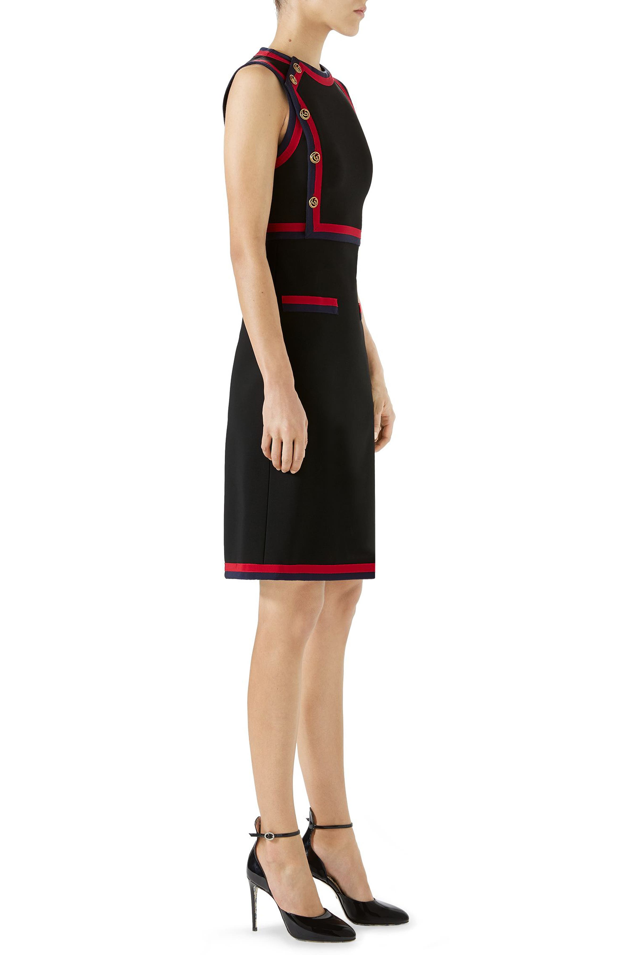 Stripe Trim Jersey A-Line Dress,                             Alternate thumbnail 3, color,                             BLACK/ MULTICOLOR