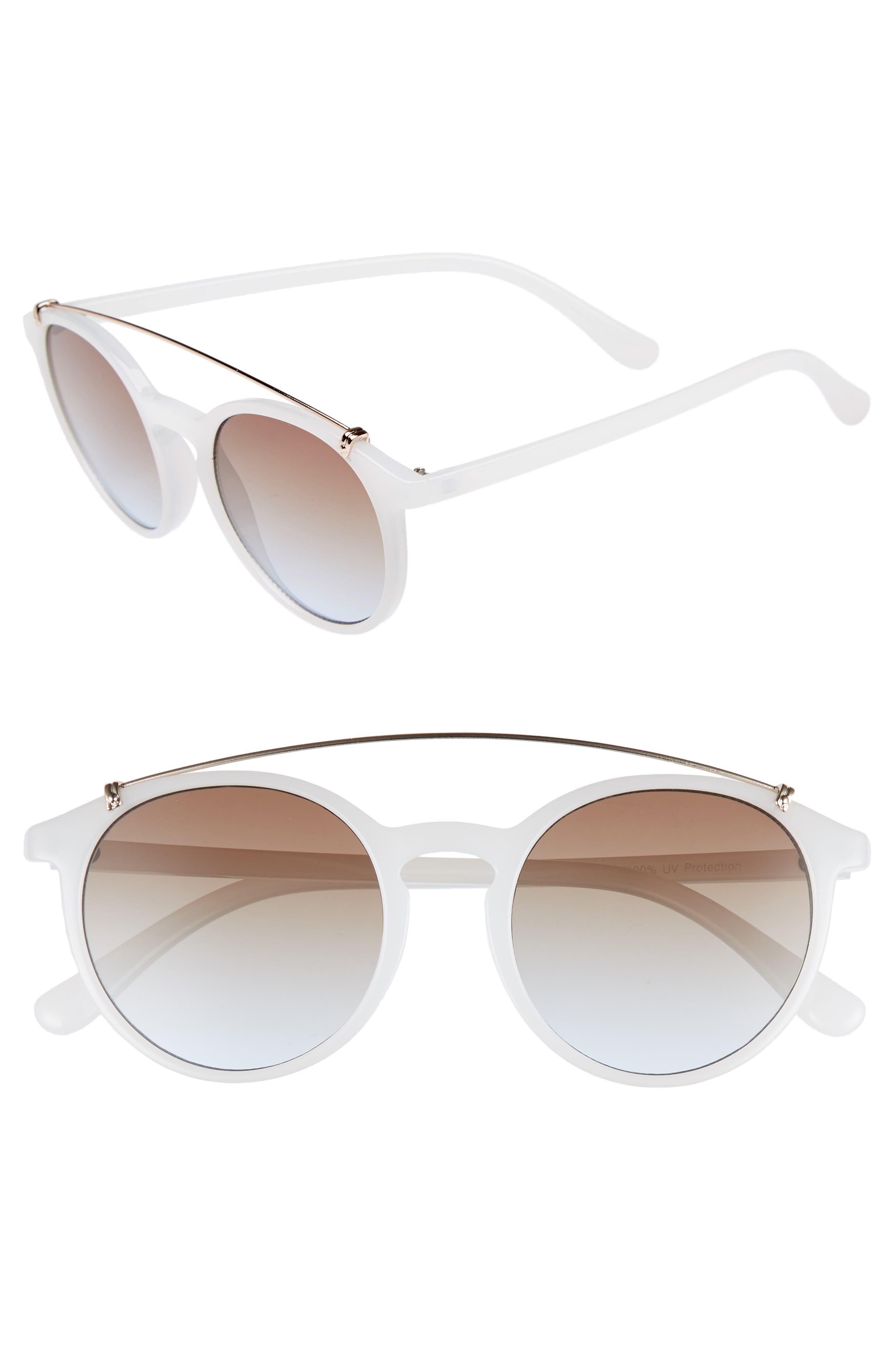 Round Aviator Sunglasses,                             Main thumbnail 1, color,                             MILKY WHITE/ GOLD