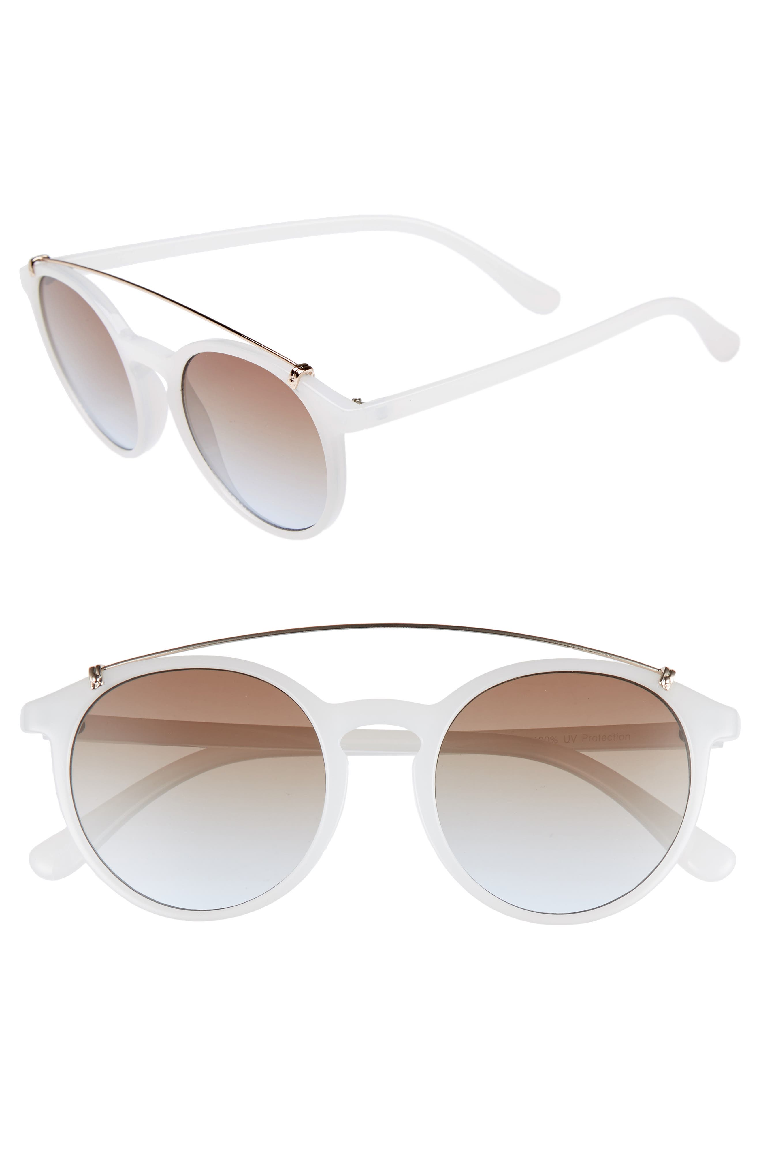 Round Aviator Sunglasses,                         Main,                         color, MILKY WHITE/ GOLD