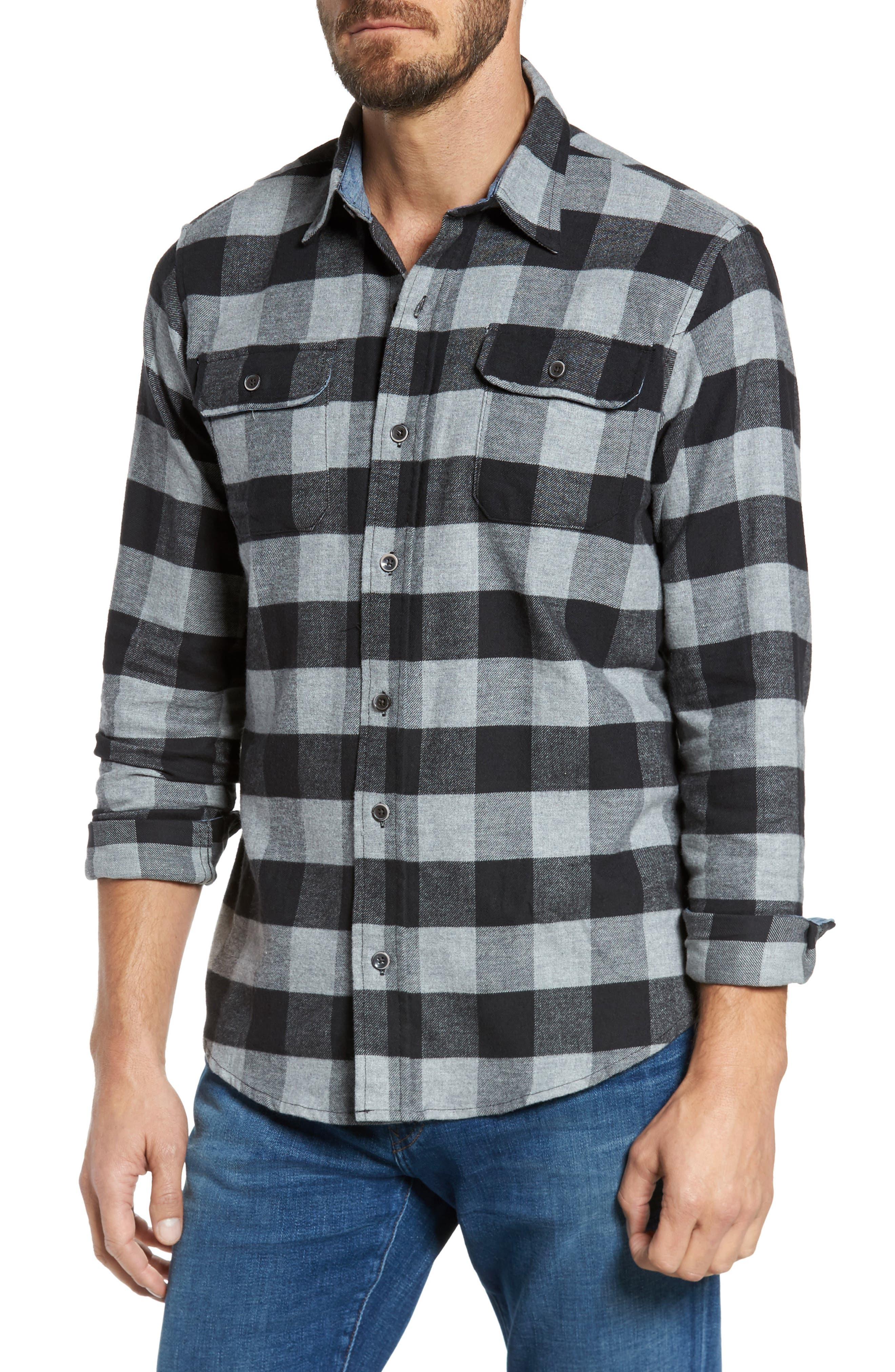 Buffalo Check Flannel Shirt,                             Main thumbnail 1, color,