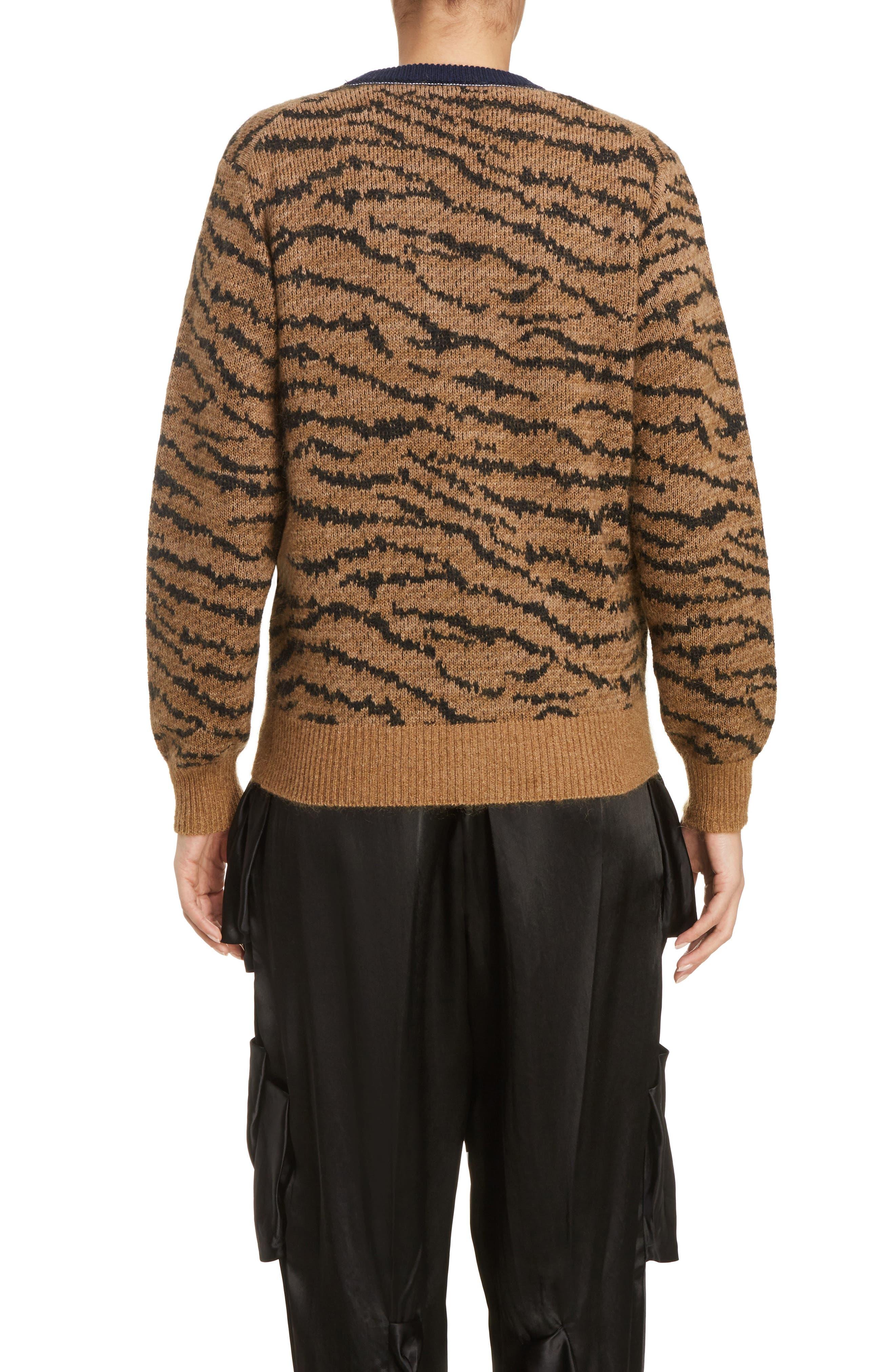 Tiger Jacquard Knit Button Cardigan,                             Alternate thumbnail 2, color,                             250