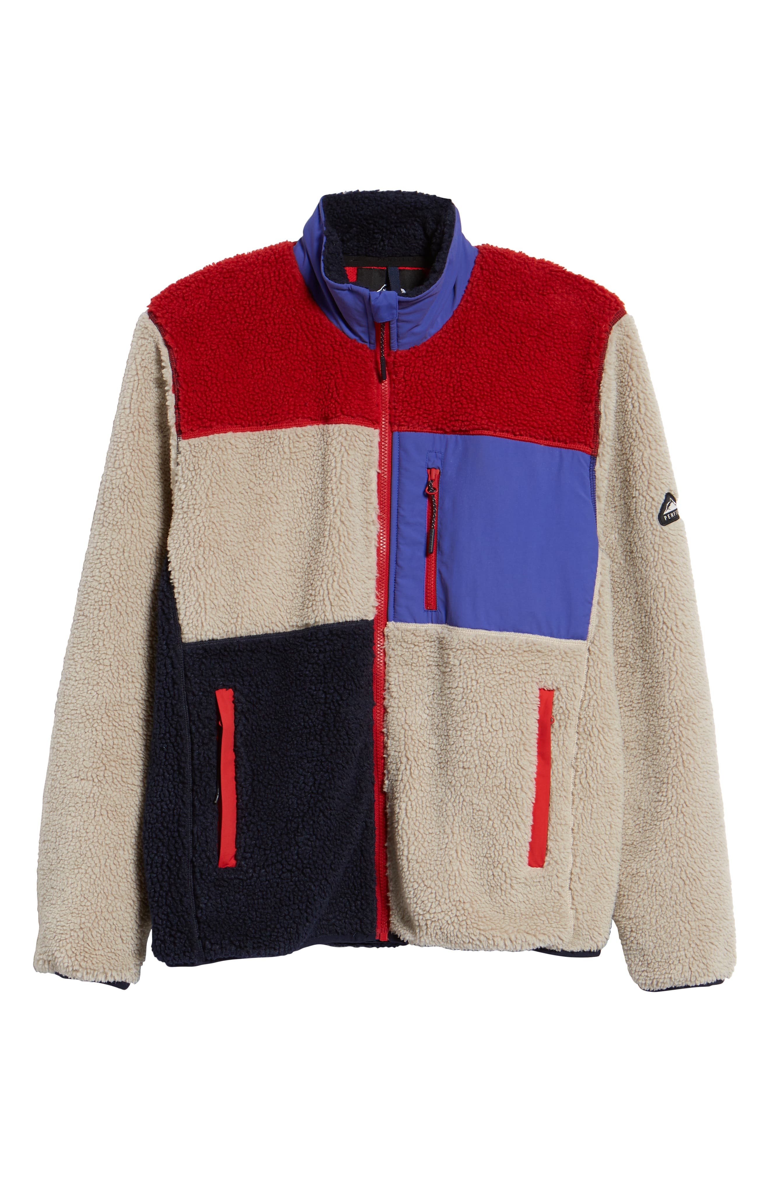 Mattawa Colorblock Fleece Zip Jacket,                             Alternate thumbnail 6, color,                             TAN