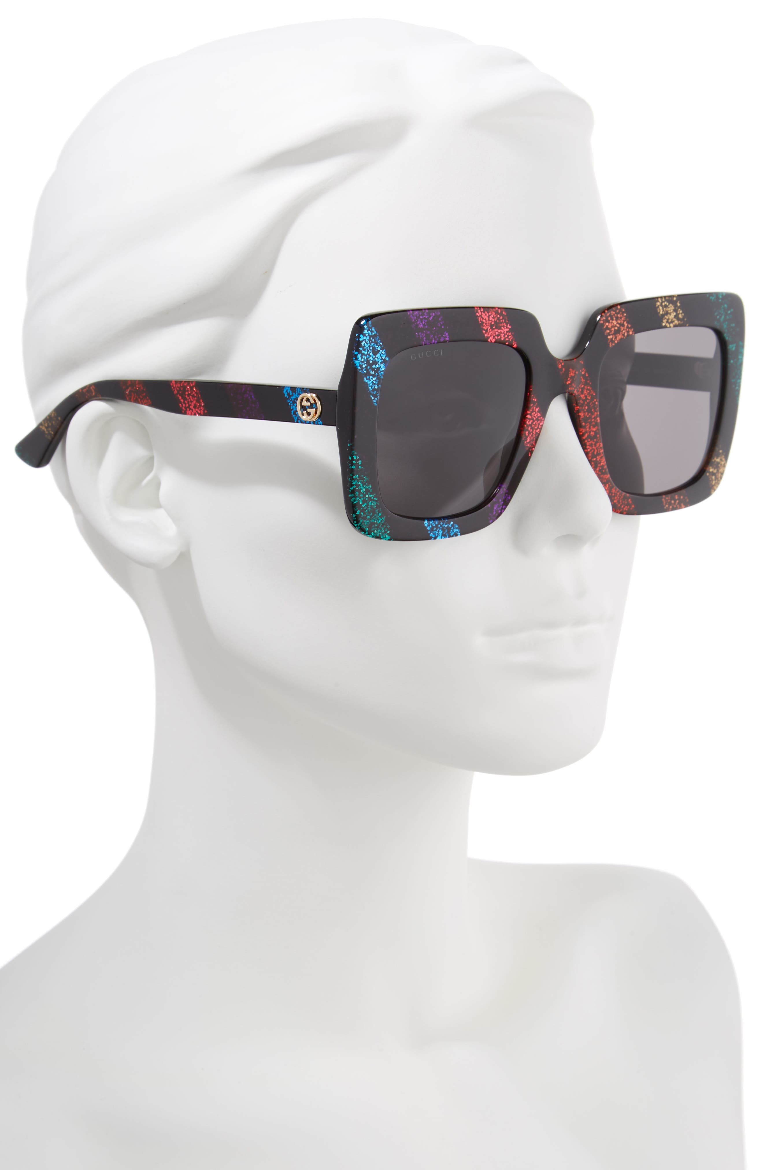 53mm Glitter Stripe Square Sunglasses,                             Alternate thumbnail 2, color,                             RAINBOW