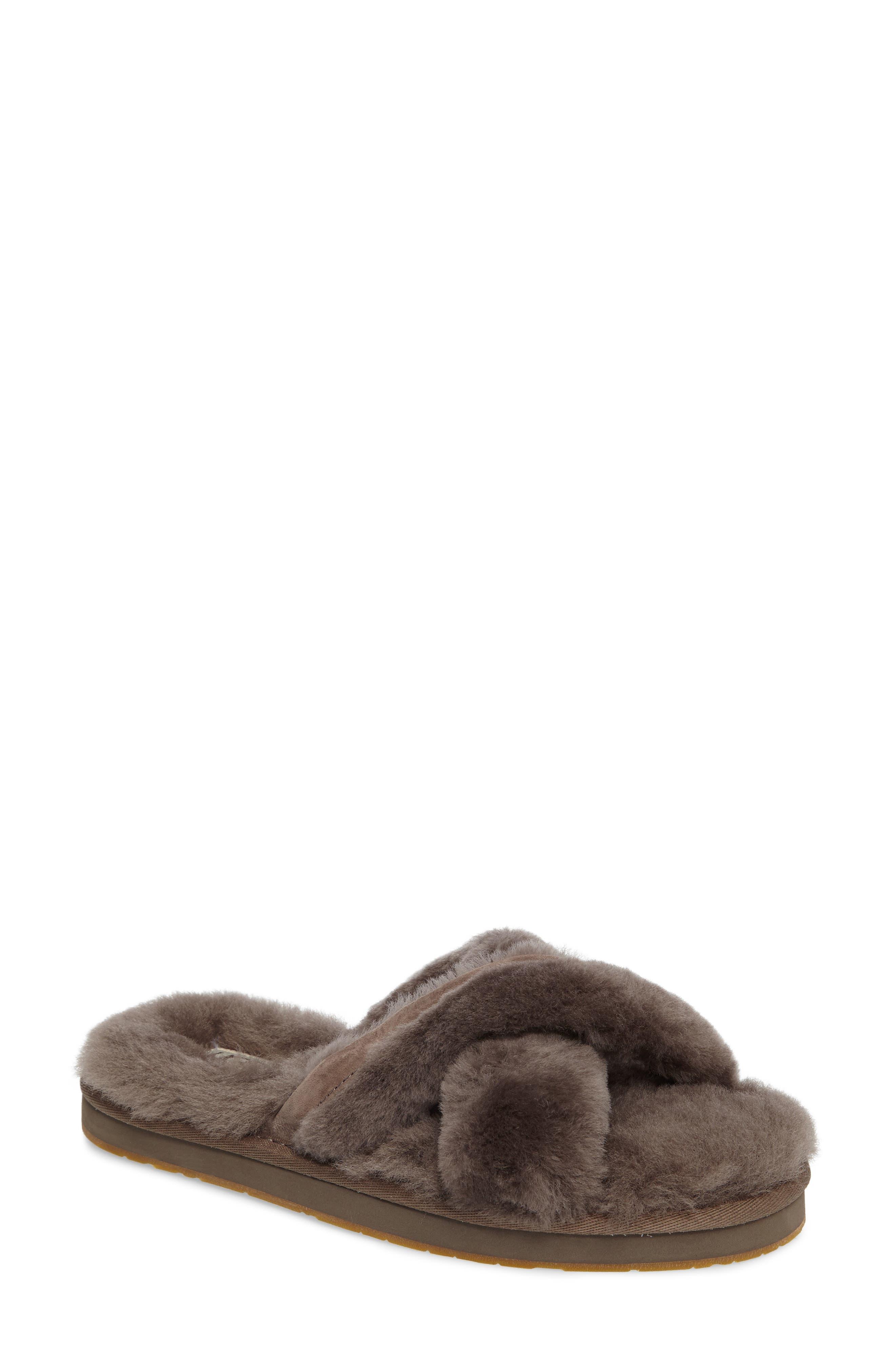 Abela Genuine Shearling Flip Flop,                             Main thumbnail 1, color,                             SLATE WOOL