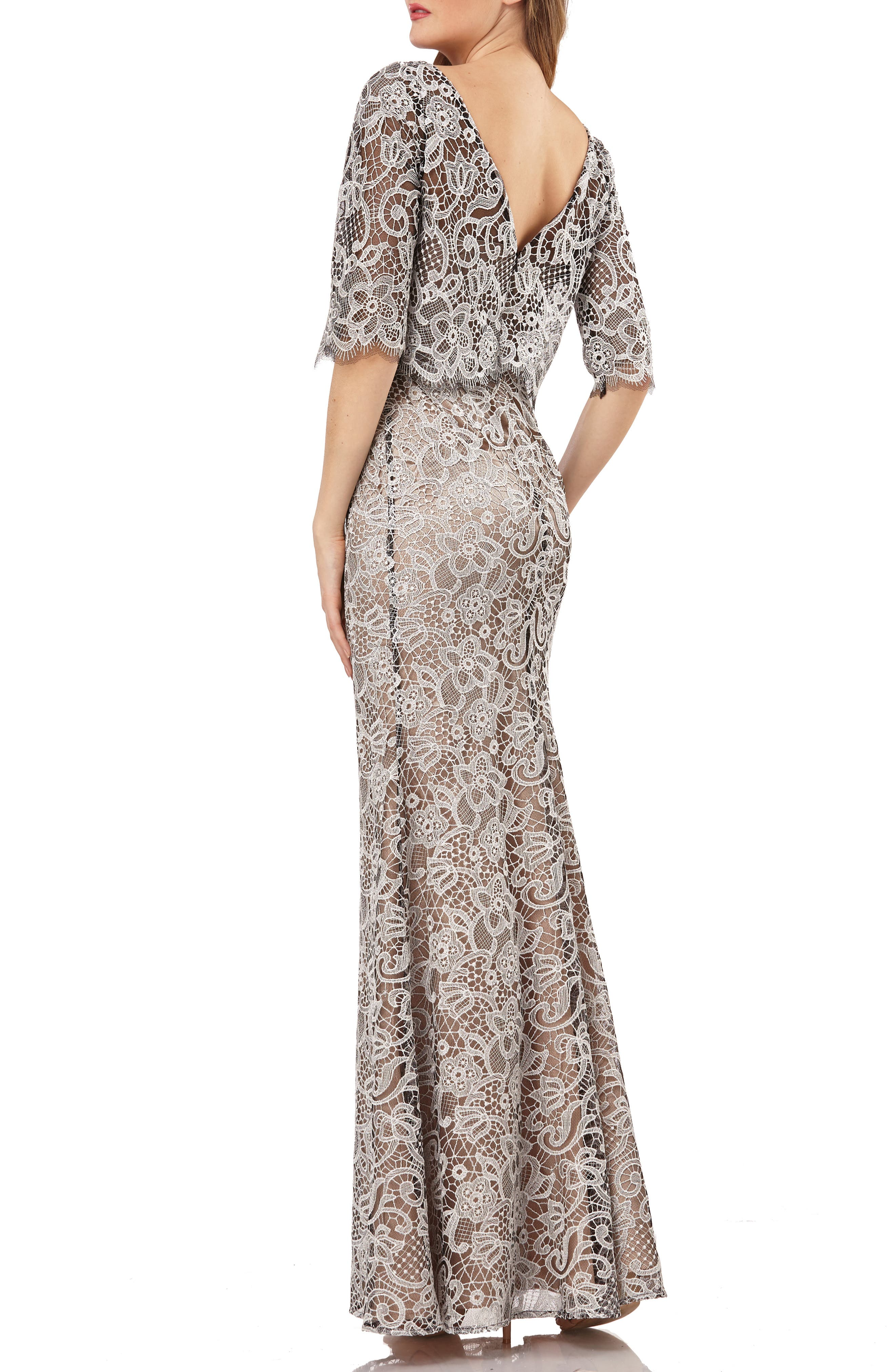 JS COLLECTIONS,                             JS Collection Embroidered Lace Scallop Trim Evening Dress,                             Alternate thumbnail 2, color,                             BLACK/ IVORY