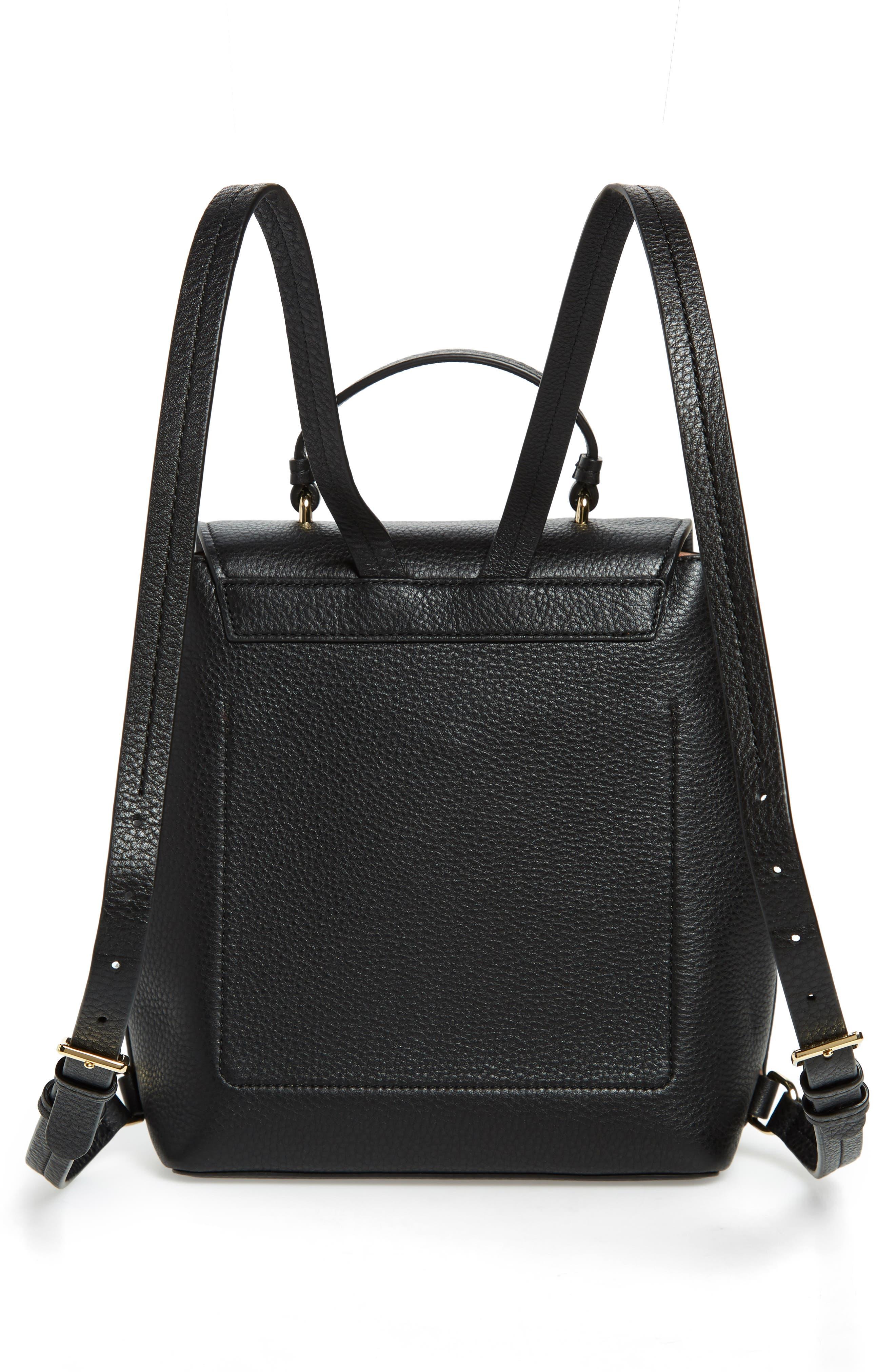 hayes street - teba leather backpack,                             Alternate thumbnail 3, color,                             BLACK