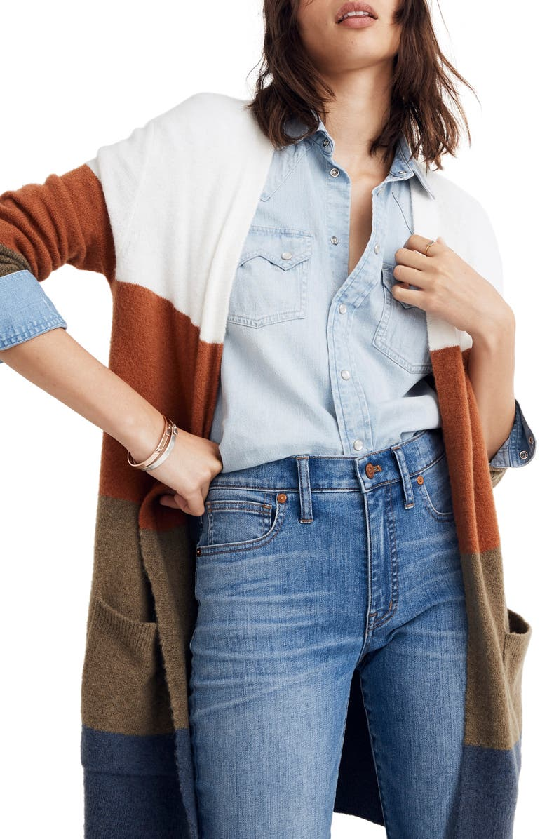 Madewell Kent Colorblock Long Cardigan (Regular & Plus Size) | Nordstrom