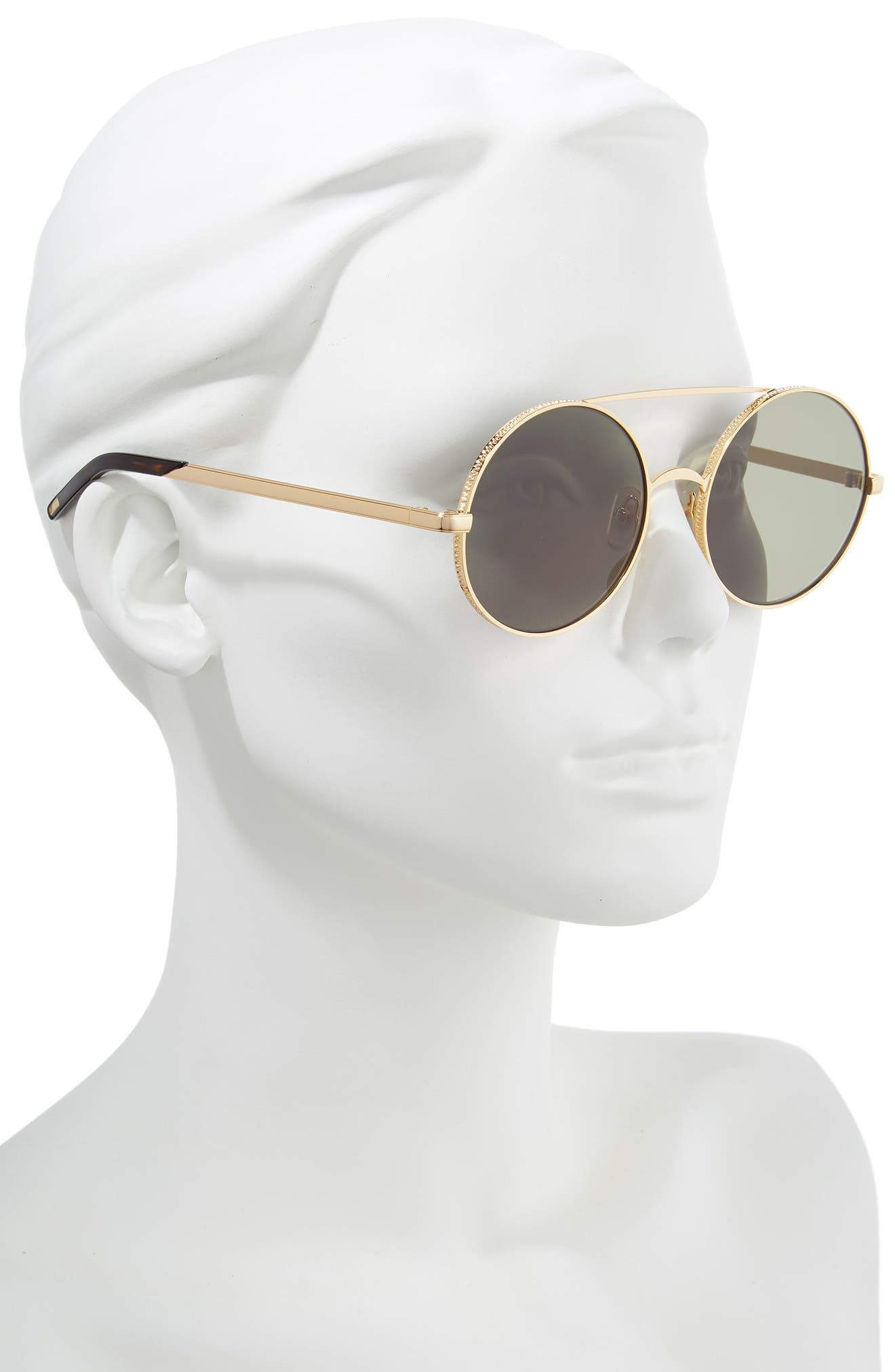 Ace 55mm Round Sunglasses,                             Alternate thumbnail 2, color,                             GOLD/ G 15 SOLID