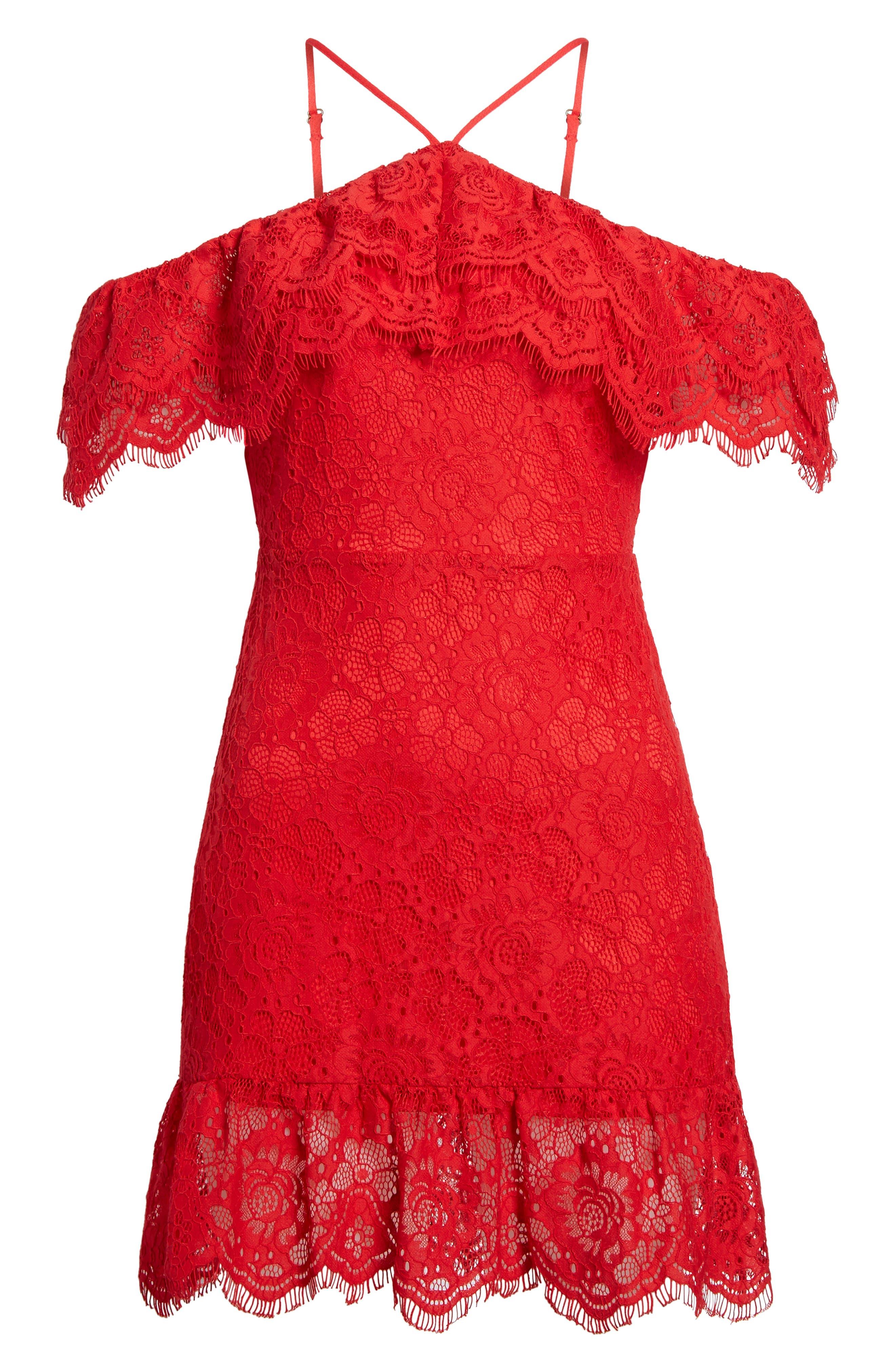 L'Amour Ruffle Halter Dress,                             Alternate thumbnail 6, color,                             600