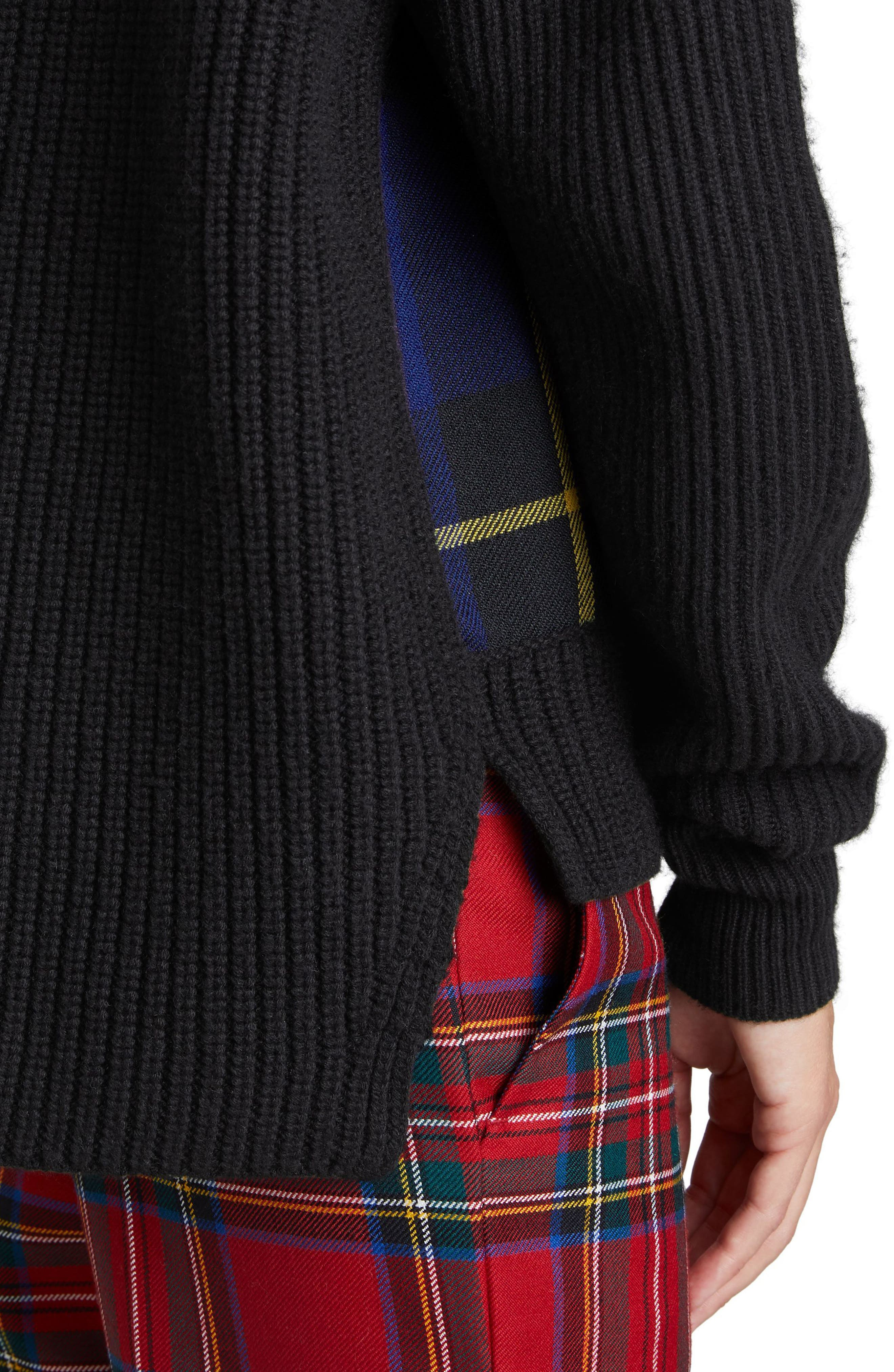 Fiora Check Wool & Cashmere Turtleneck Sweater,                             Alternate thumbnail 4, color,                             001