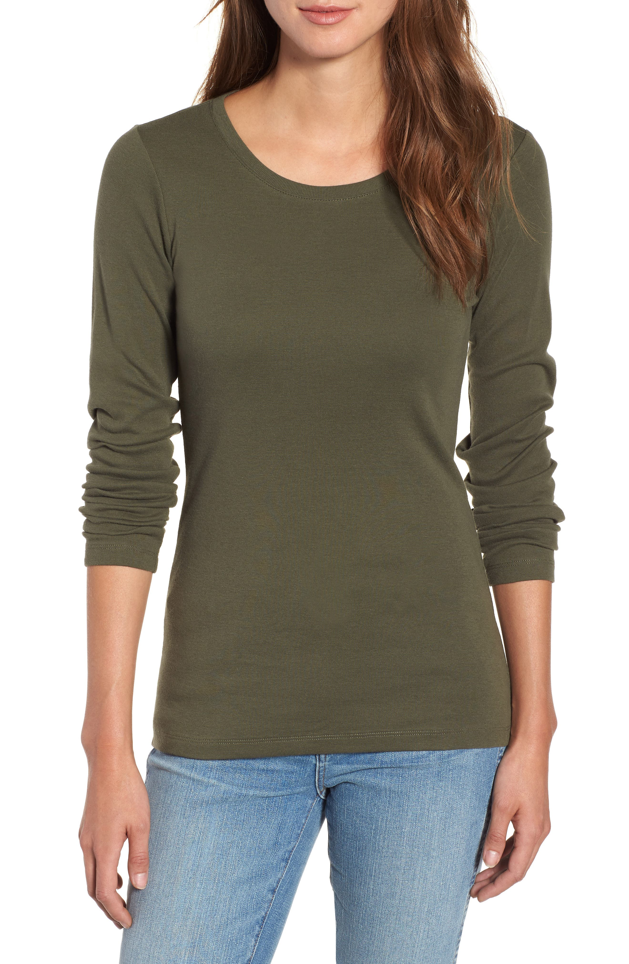Long Sleeve Scoop Neck Cotton Tee,                         Main,                         color, 300