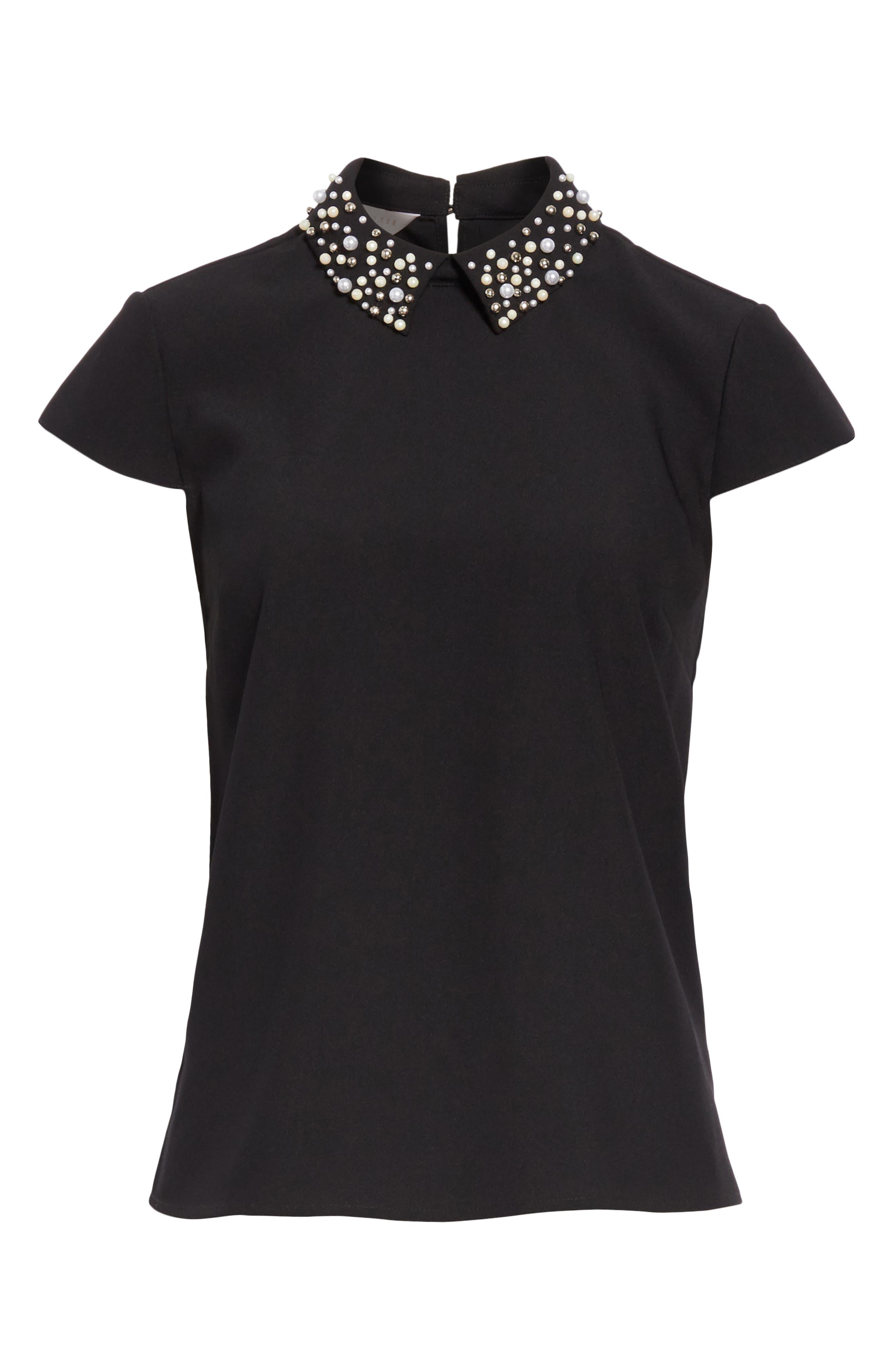 Jaylen Embellished Collar Top,                             Alternate thumbnail 6, color,                             BLACK