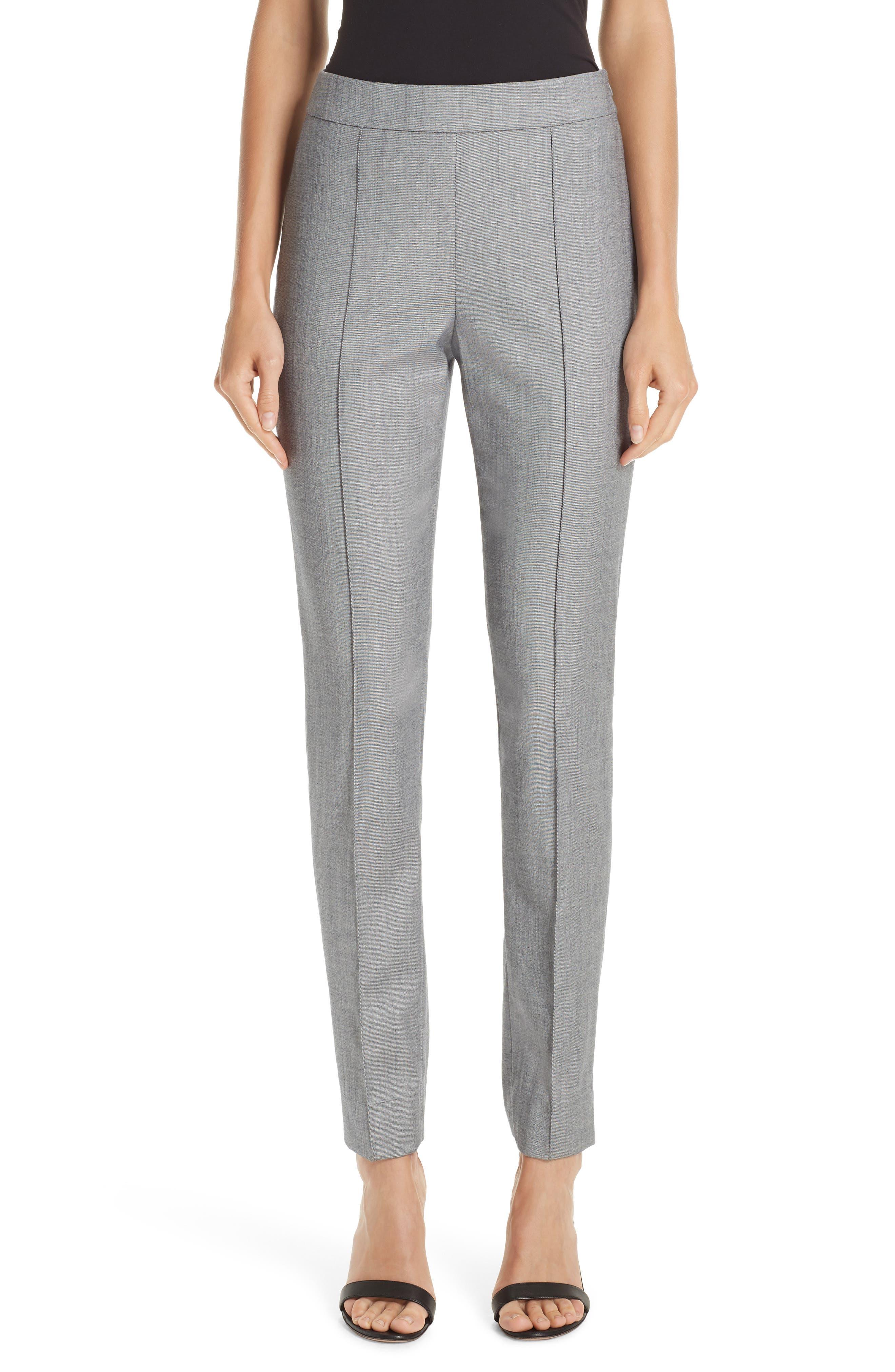 Sharkskin Stretch Wool Blend Skinny Ankle Pants in Grey Multi