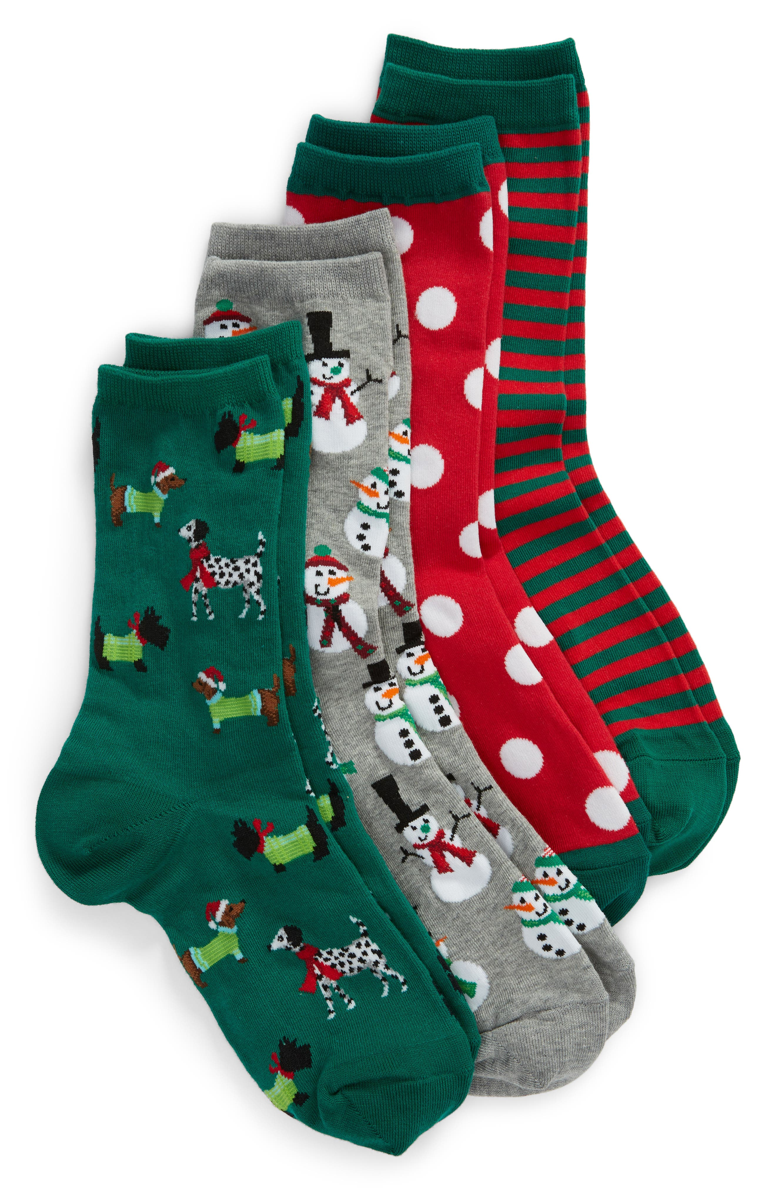 4-Pack Holiday Snowmen 4-Pack Socks in Red