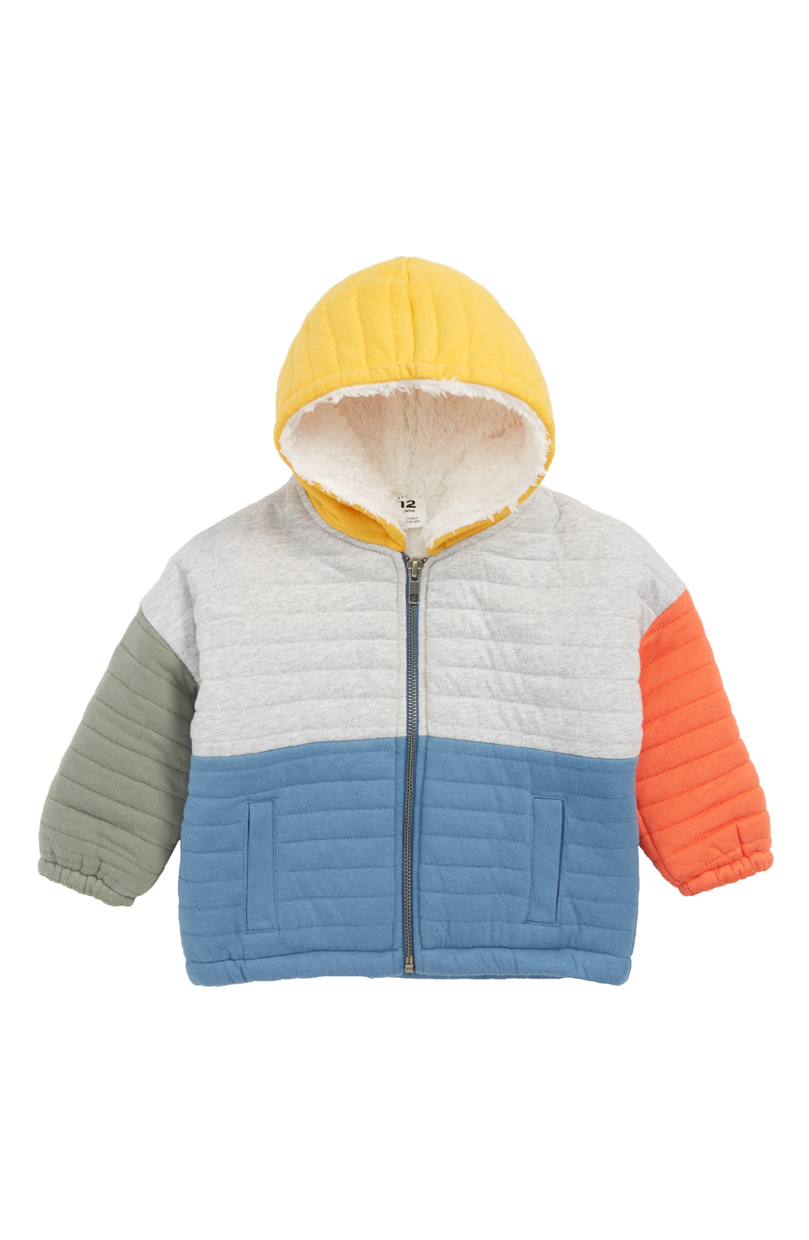 Quilted Jacket with Faux Fur Lining,                         Main,                         color, GREY ASH HEATHER- BLUE
