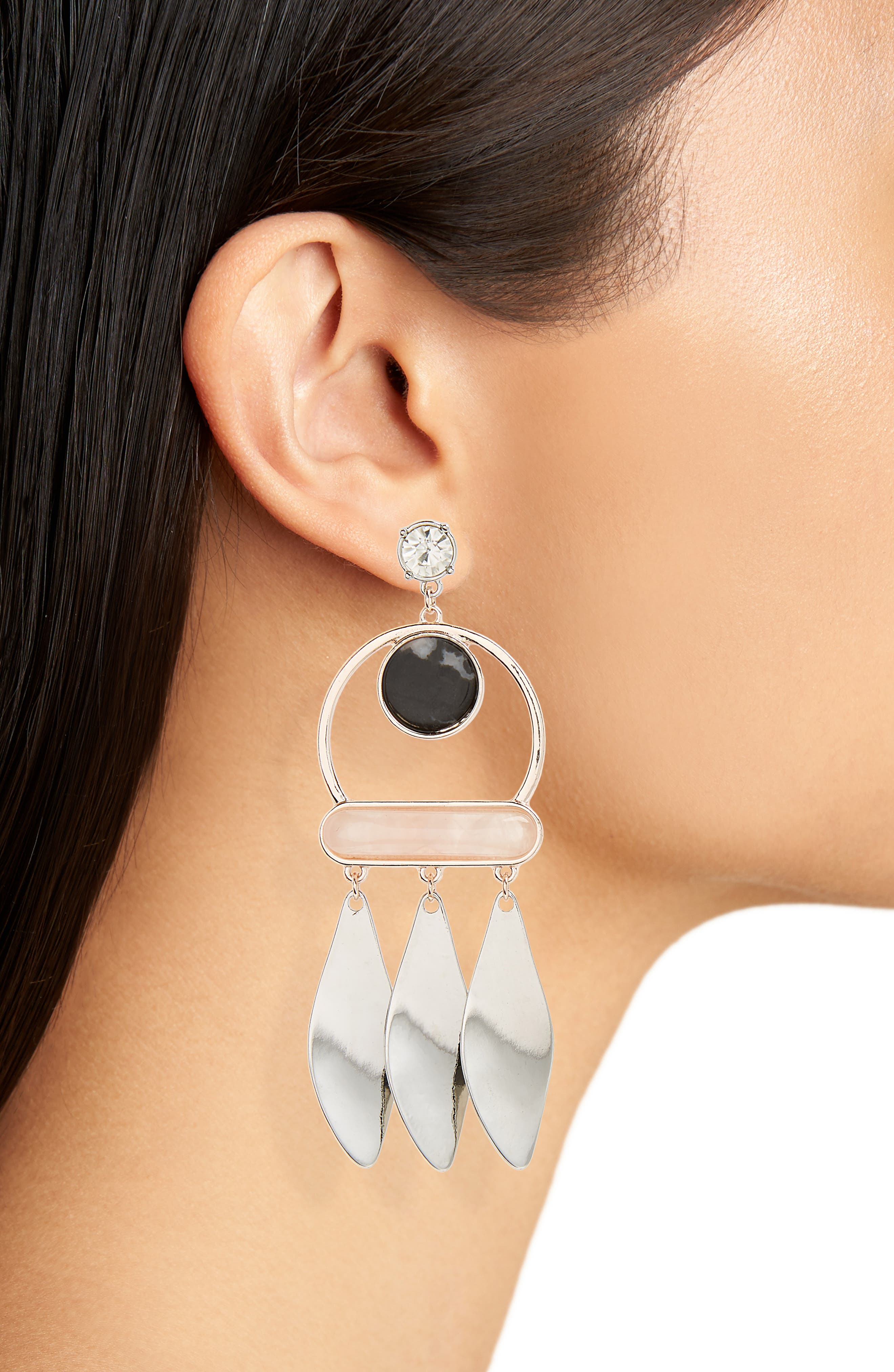 Zebra Mix Metal Drop Earrings,                             Alternate thumbnail 2, color,                             001