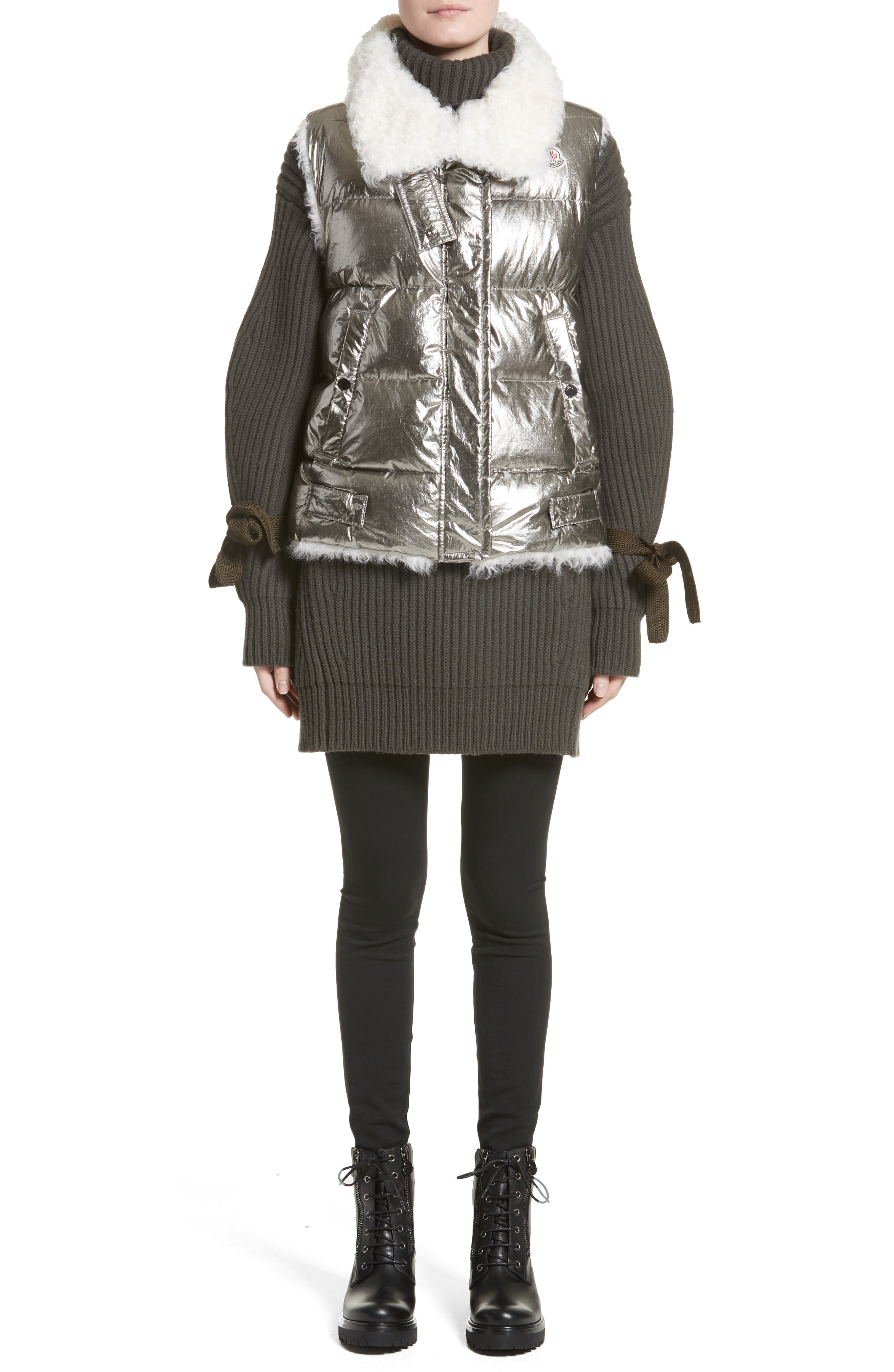Kerria Metallic Down Vest with Genuine Shearling Trim,                             Alternate thumbnail 7, color,                             040