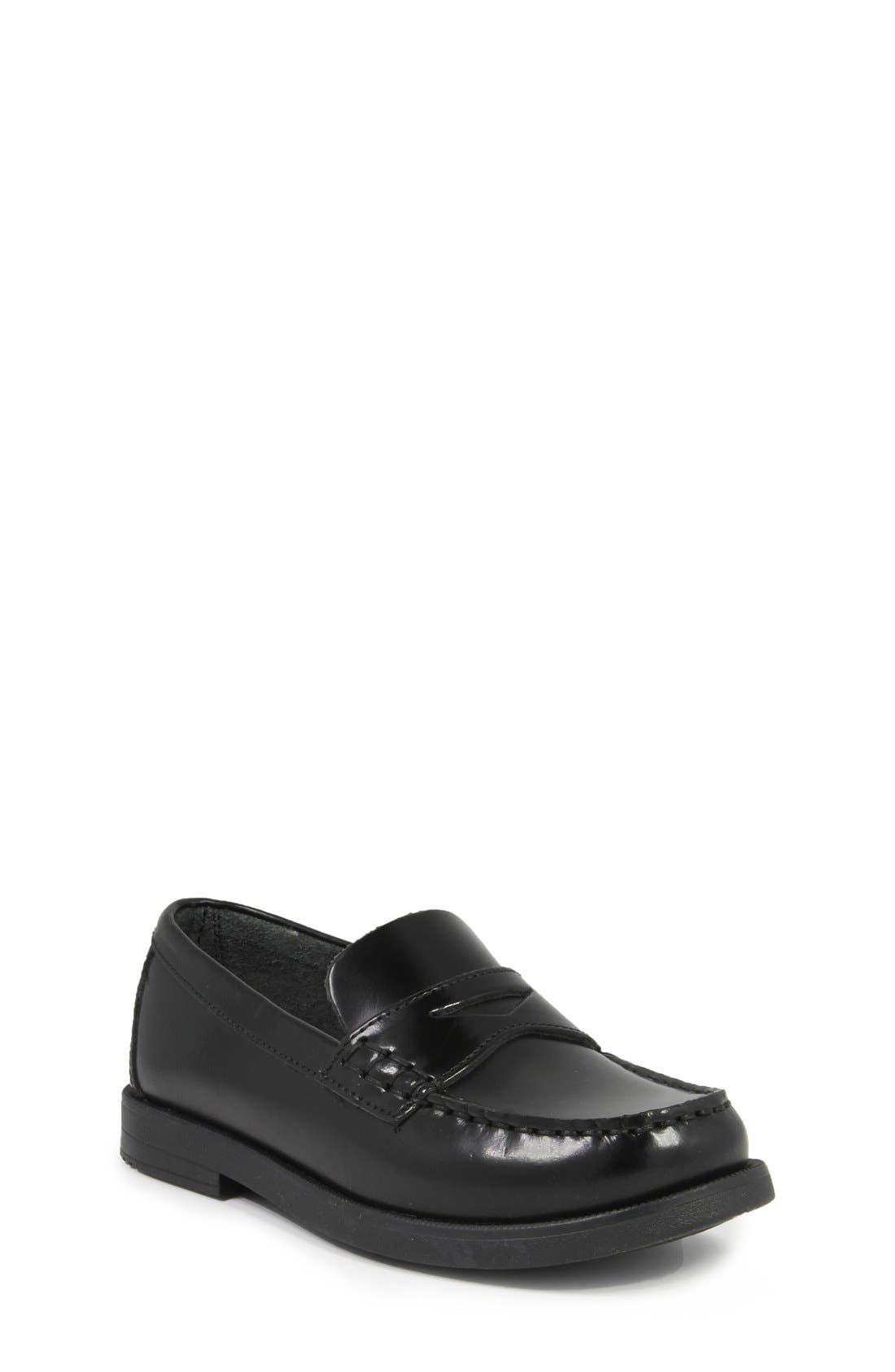 'Croquet' Penny Loafer,                             Main thumbnail 1, color,                             BLACK