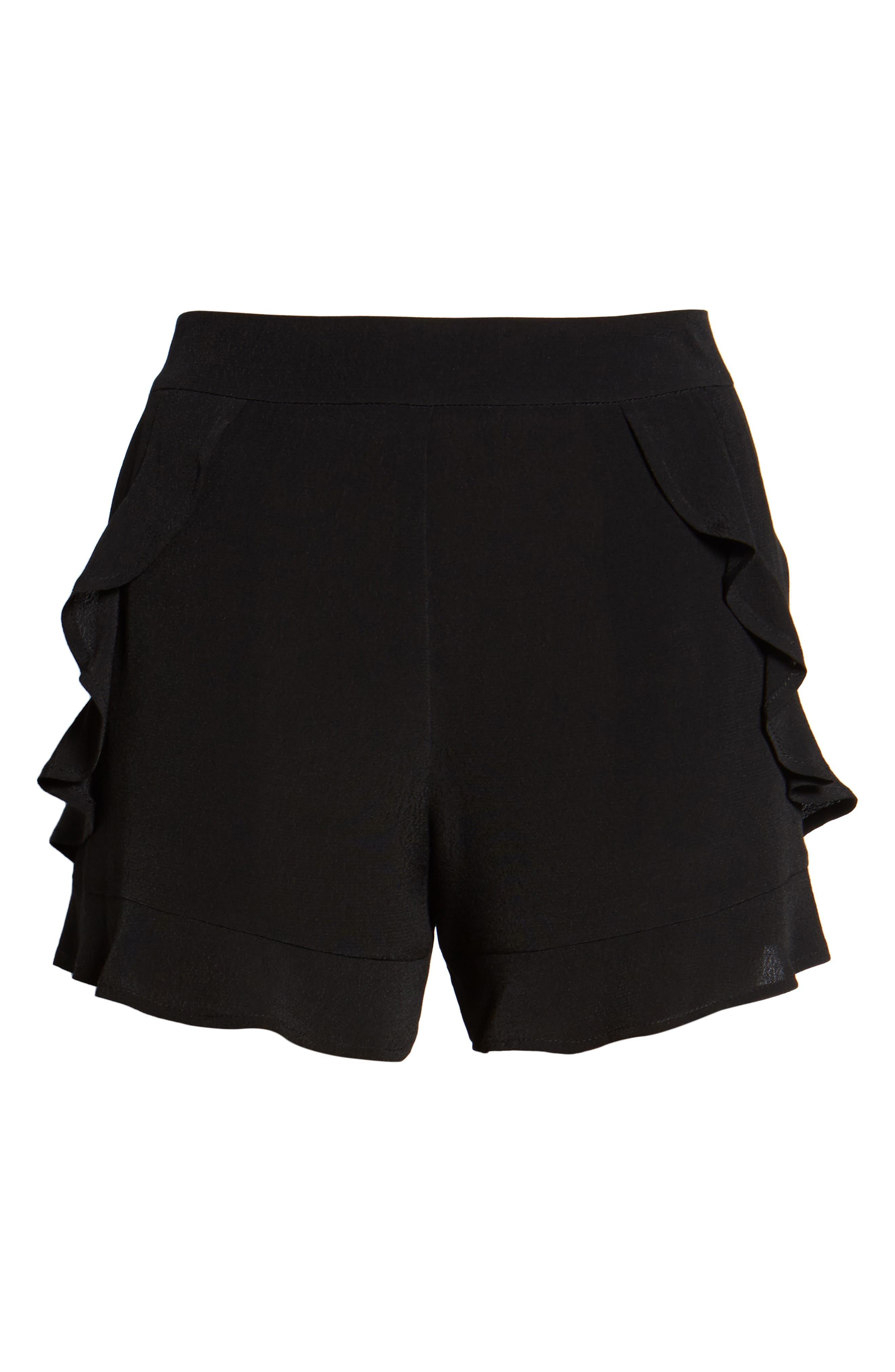 Ruffle Trim Shorts,                             Alternate thumbnail 7, color,                             001