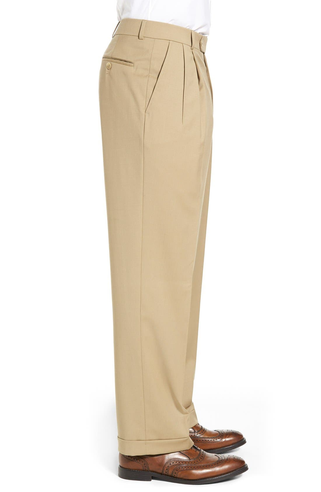 Pleated Solid Wool Trousers,                             Alternate thumbnail 35, color,