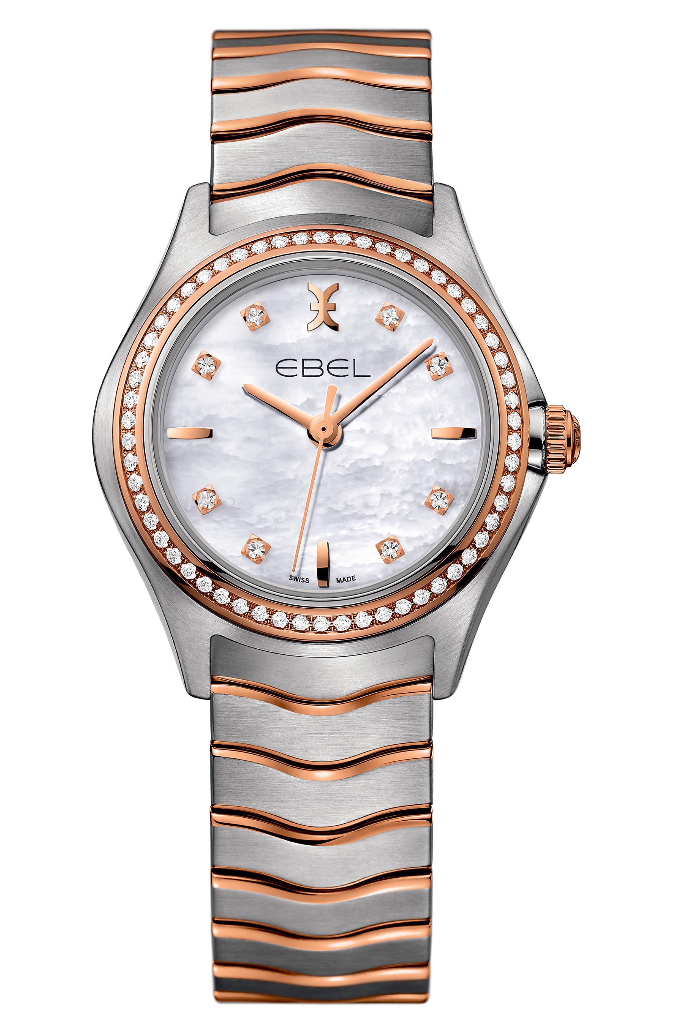 Wave Bracelet Watch, 30mm,                             Main thumbnail 1, color,                             SILVER/ MOP/ ROSE GOLD