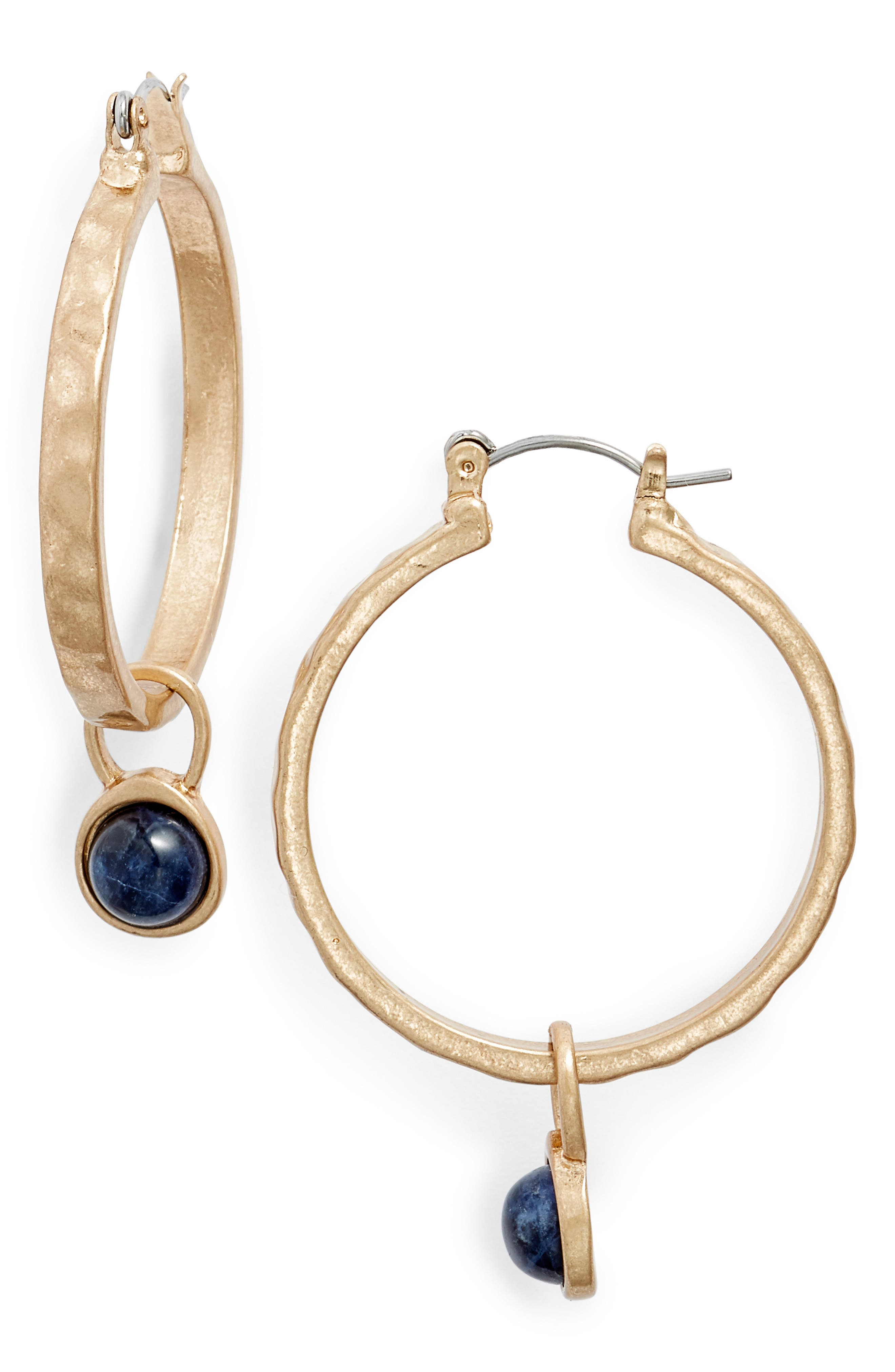 Semiprecious Stone Drop Hoops,                         Main,                         color, BLUE- GOLD