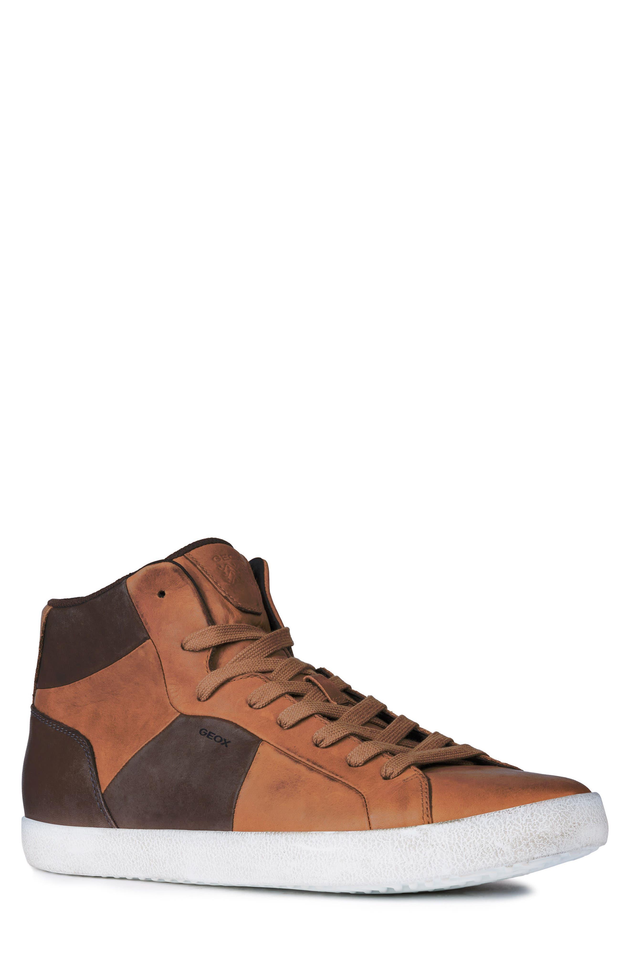 Smart 84 High Top Sneaker,                         Main,                         color, COGNAC/ COFFEE LEATHER