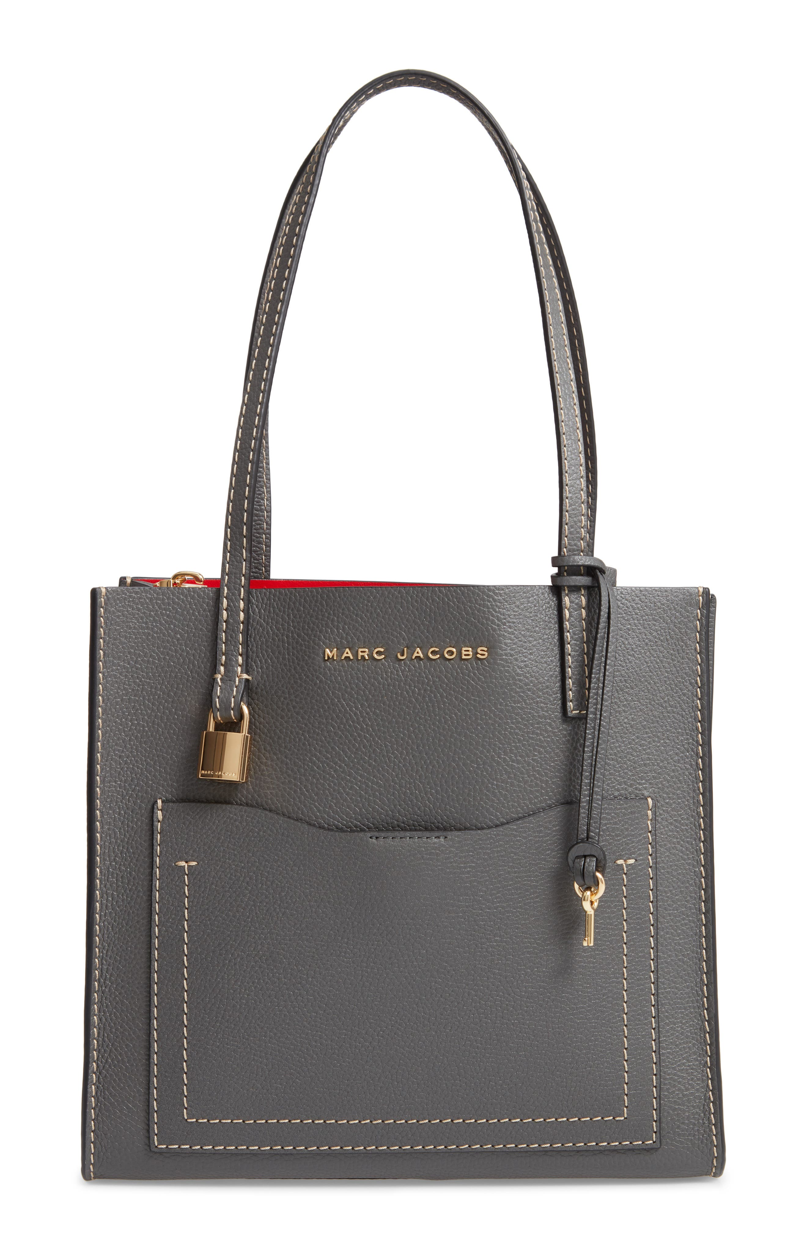 The Grind Medium Leather Tote - Grey in Forged Iron/Gold