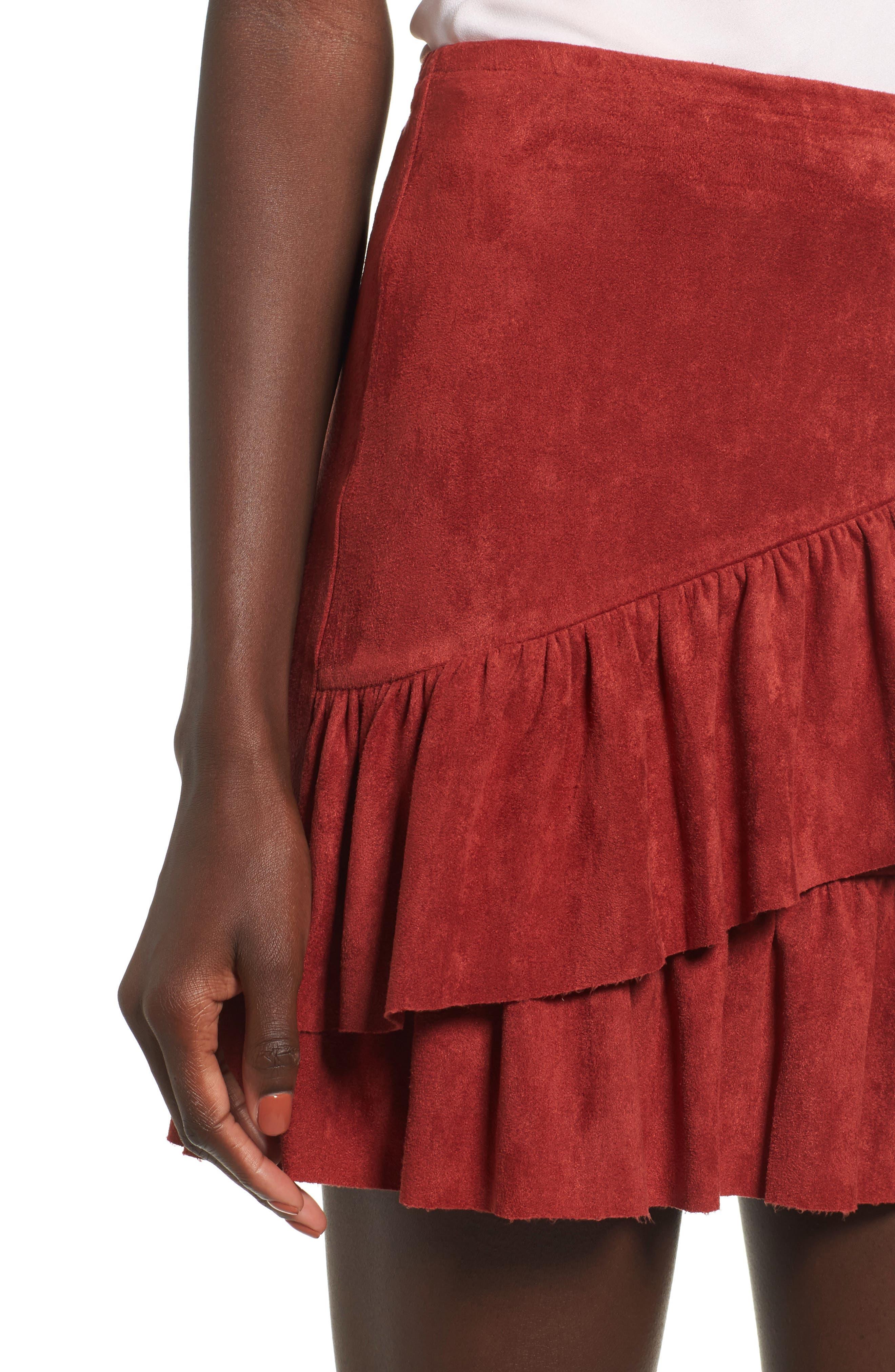 Faux Suede Ruffle Miniskirt,                             Alternate thumbnail 4, color,                             200