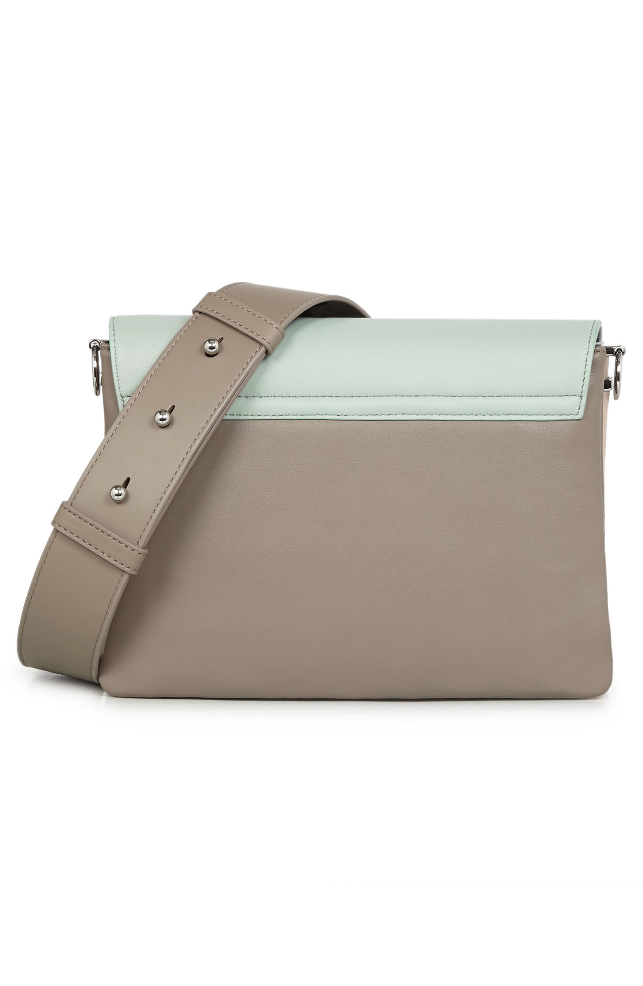 Zep Colorblock Leather Shoulder Bag,                             Alternate thumbnail 2, color,                             MINT GREEN