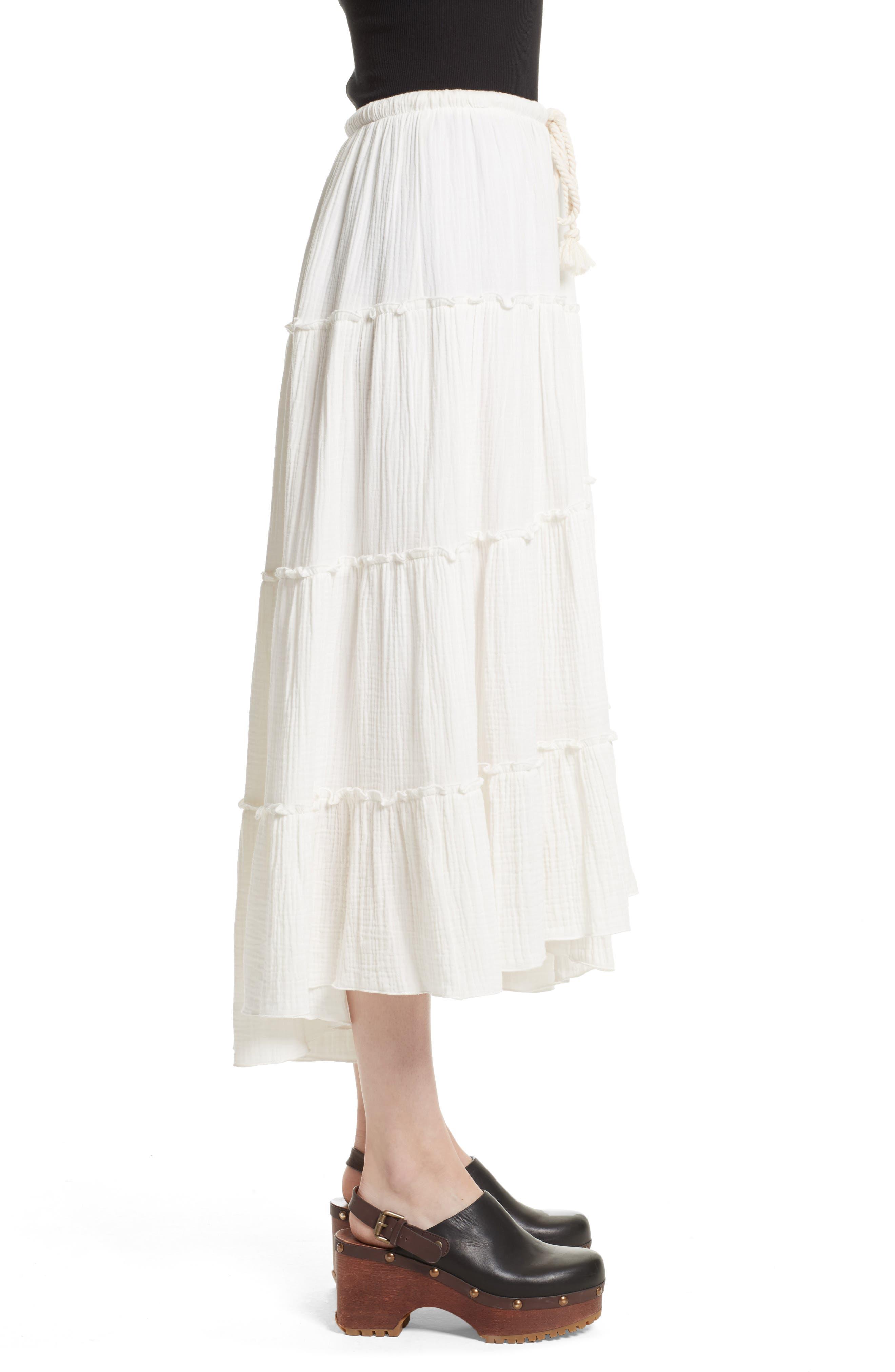Crinkled Cotton Midi Skirt,                             Alternate thumbnail 3, color,                             101
