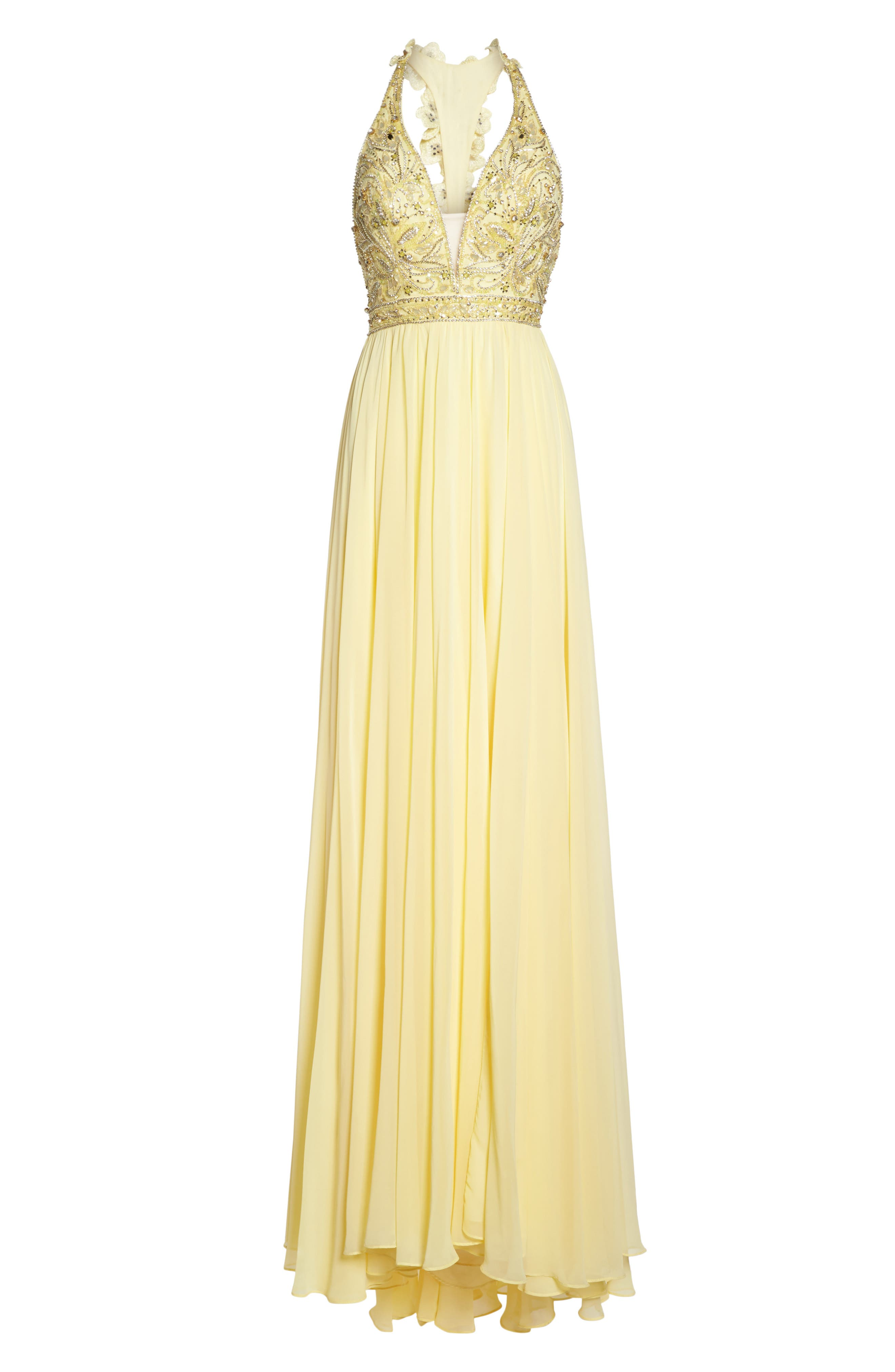 Beaded Halter Neck Gown,                             Alternate thumbnail 6, color,                             750