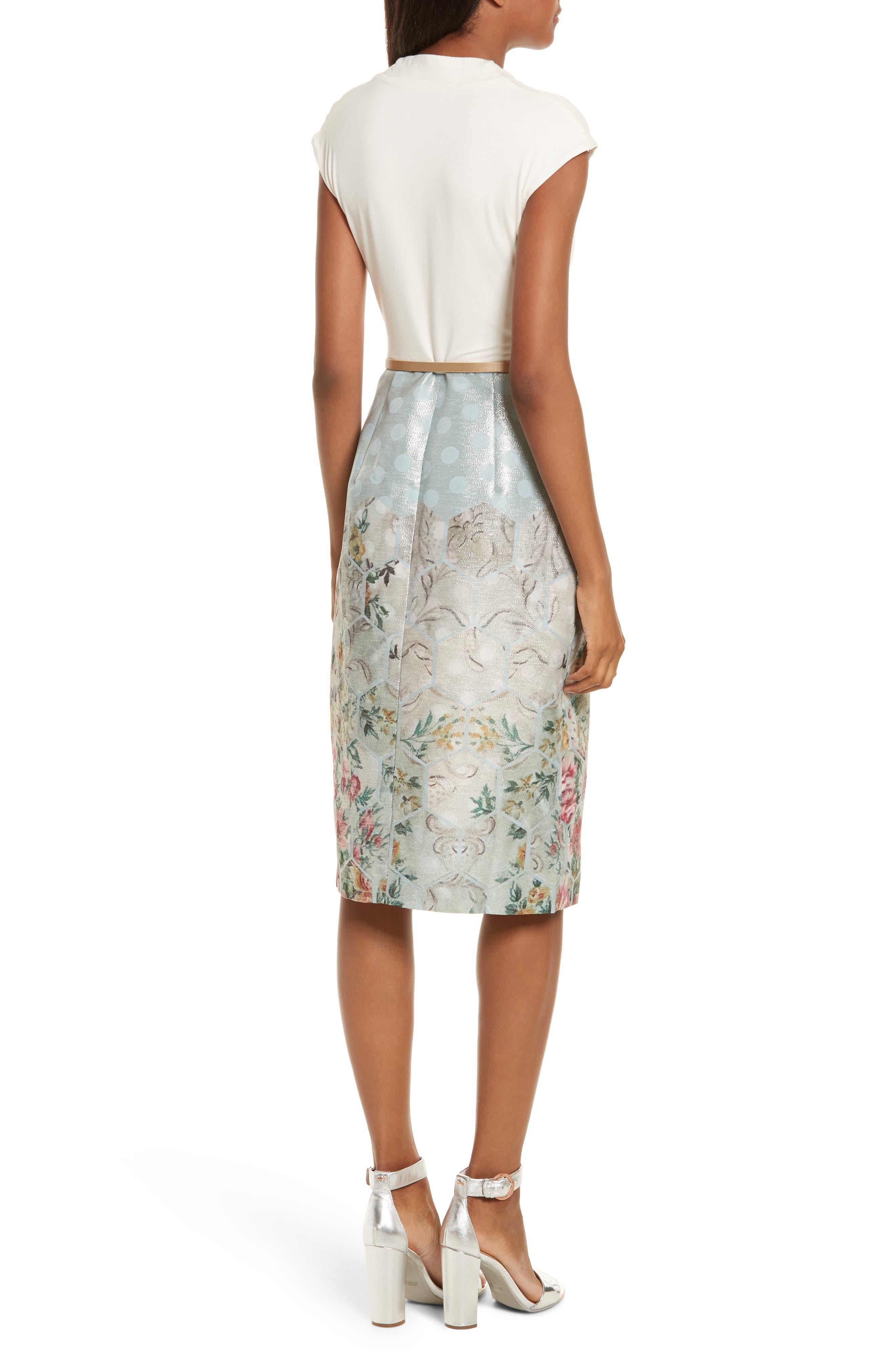 Patchwork Faux Wrap Midi Dress,                             Alternate thumbnail 2, color,                             451