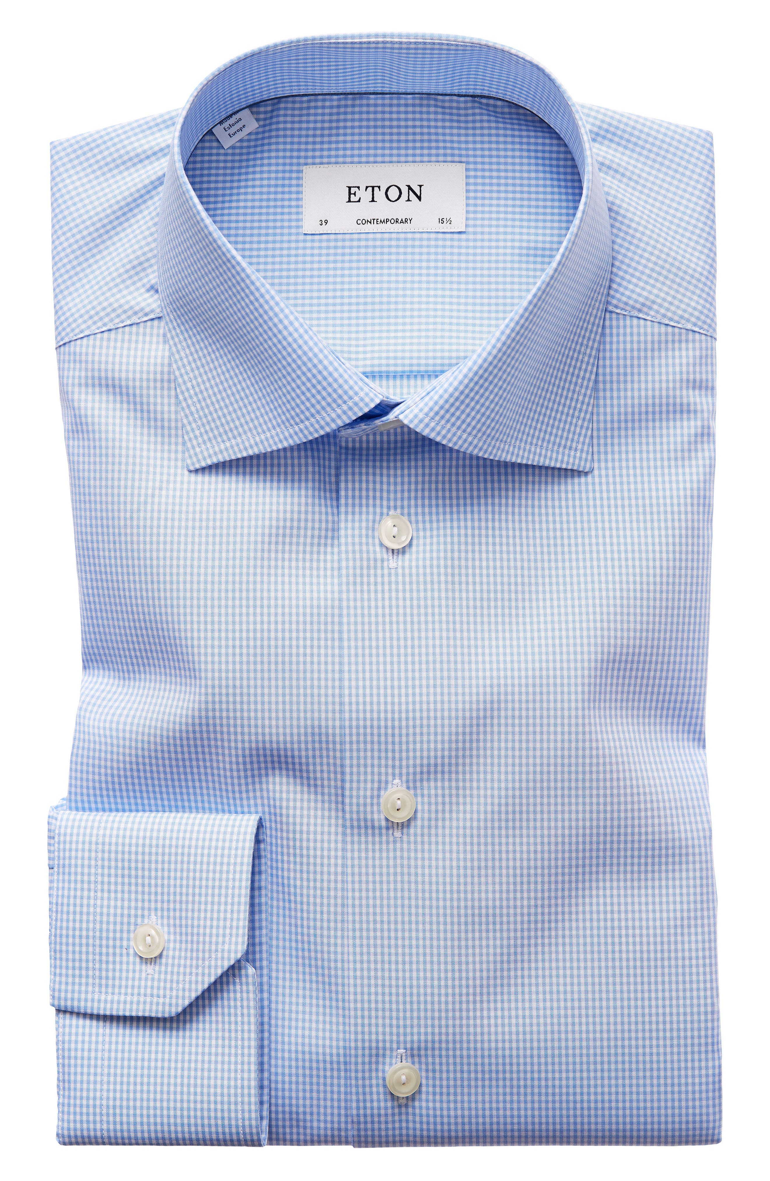 Contemporary Fit Check Dress Shirt,                         Main,                         color, MID BLUE