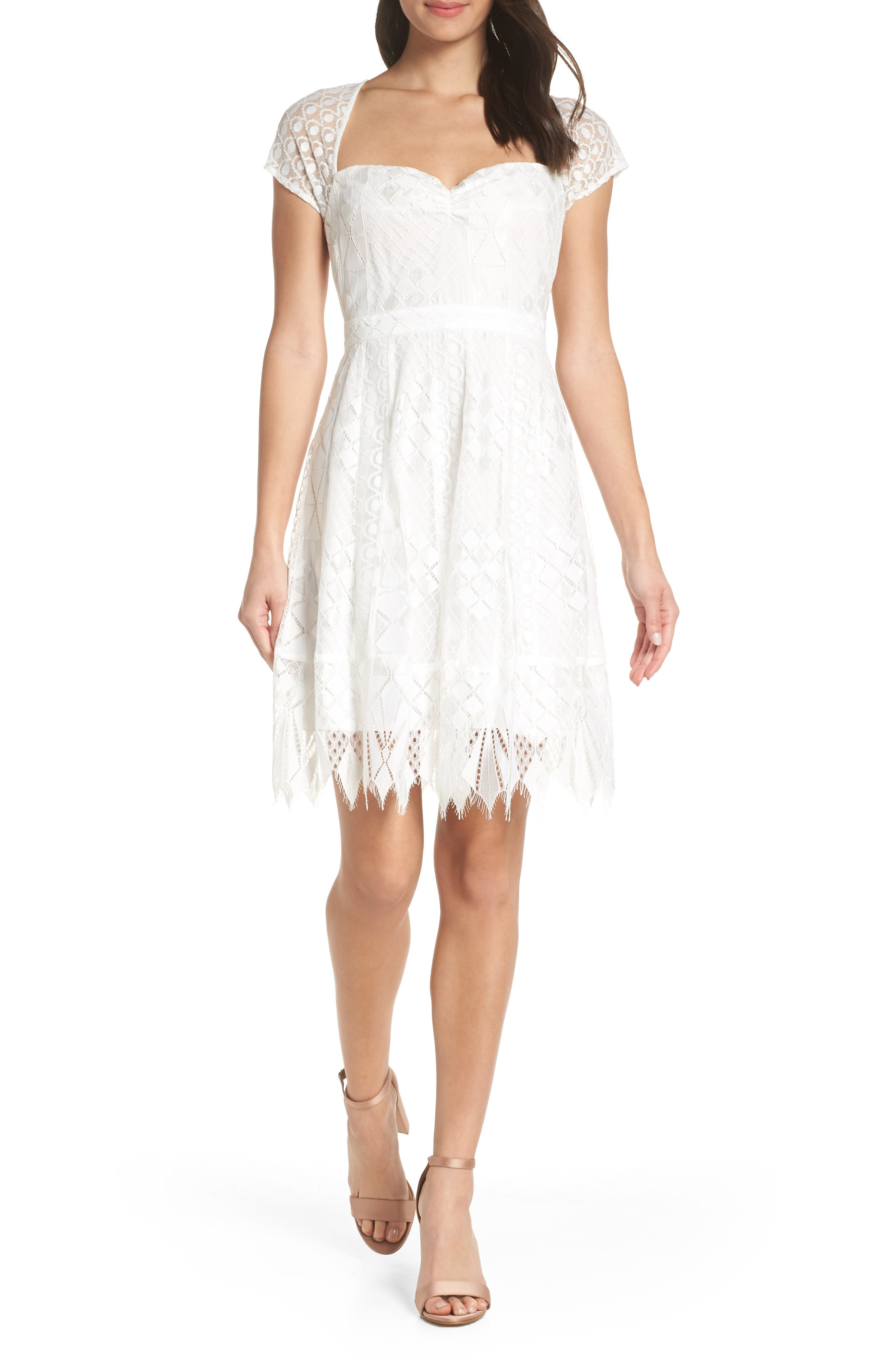 FOXIEDOX Bravo Zulu Lace Sweetheart Cocktail Dress in Off White