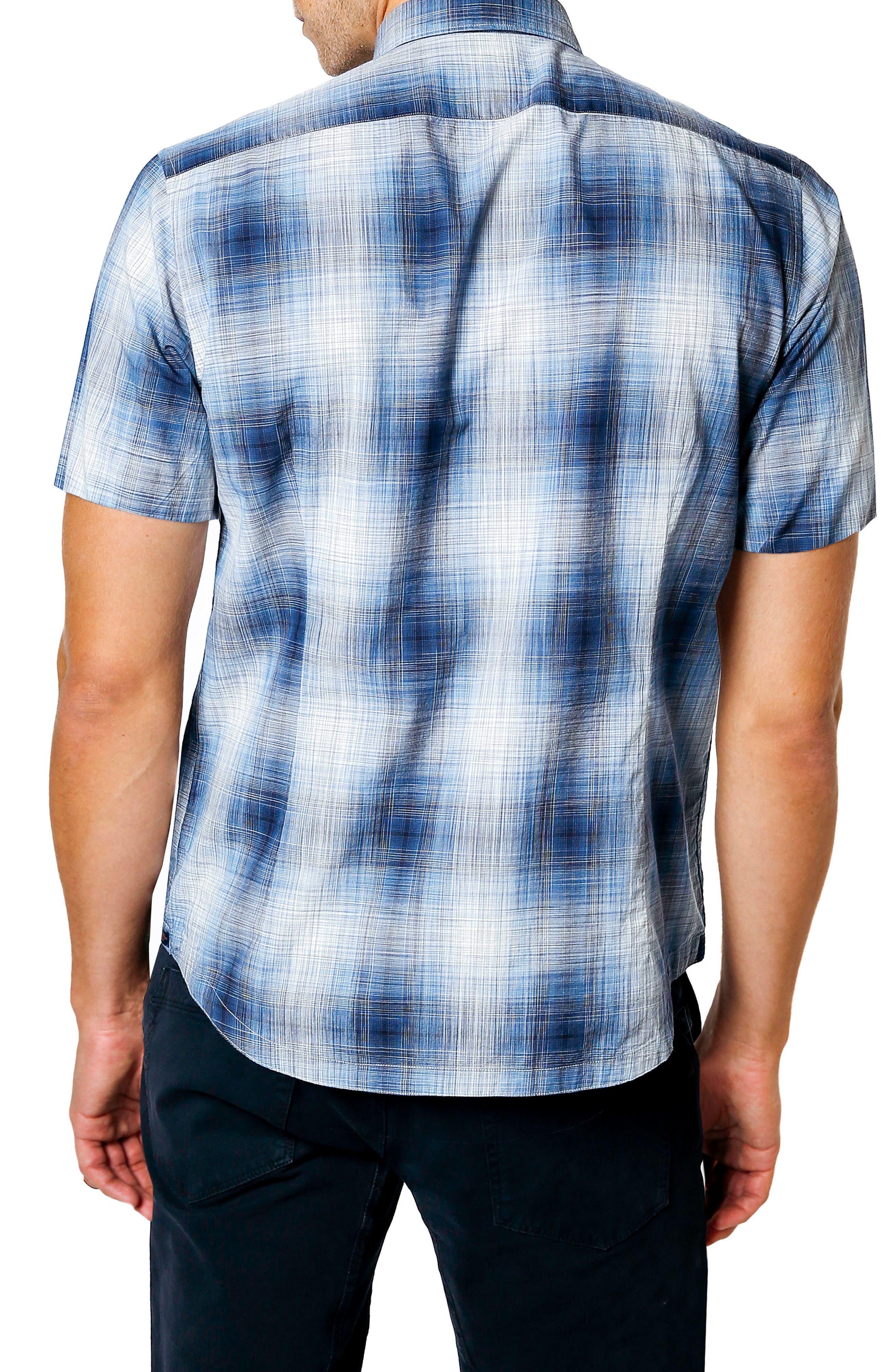 Space Plaid Trim Fit Sport Shirt,                             Alternate thumbnail 2, color,                             NAVY