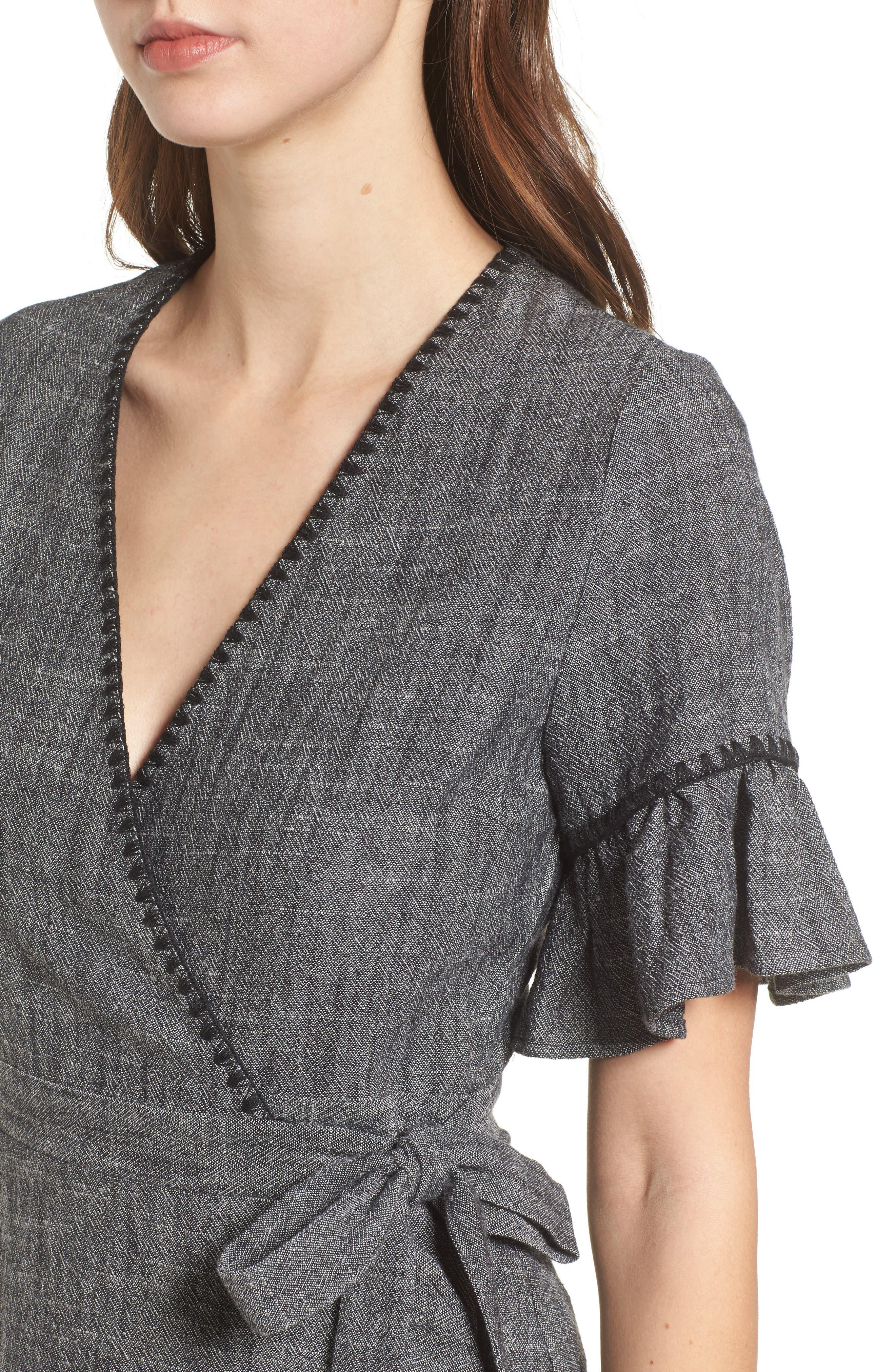 Blanket Stitch Wrap Dress,                             Alternate thumbnail 7, color,