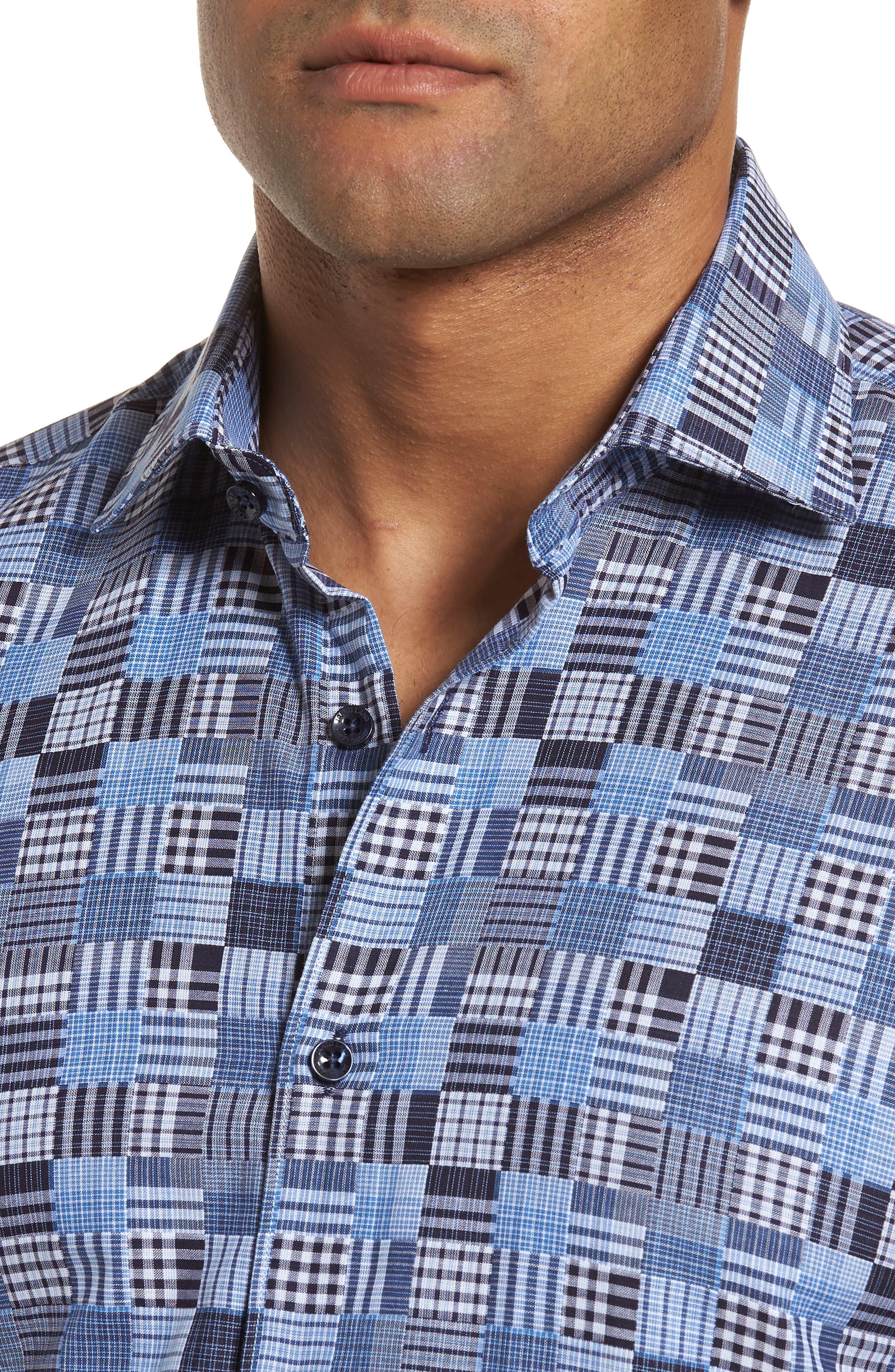 Slim Fit Madras Sport Shirt,                             Alternate thumbnail 4, color,                             485
