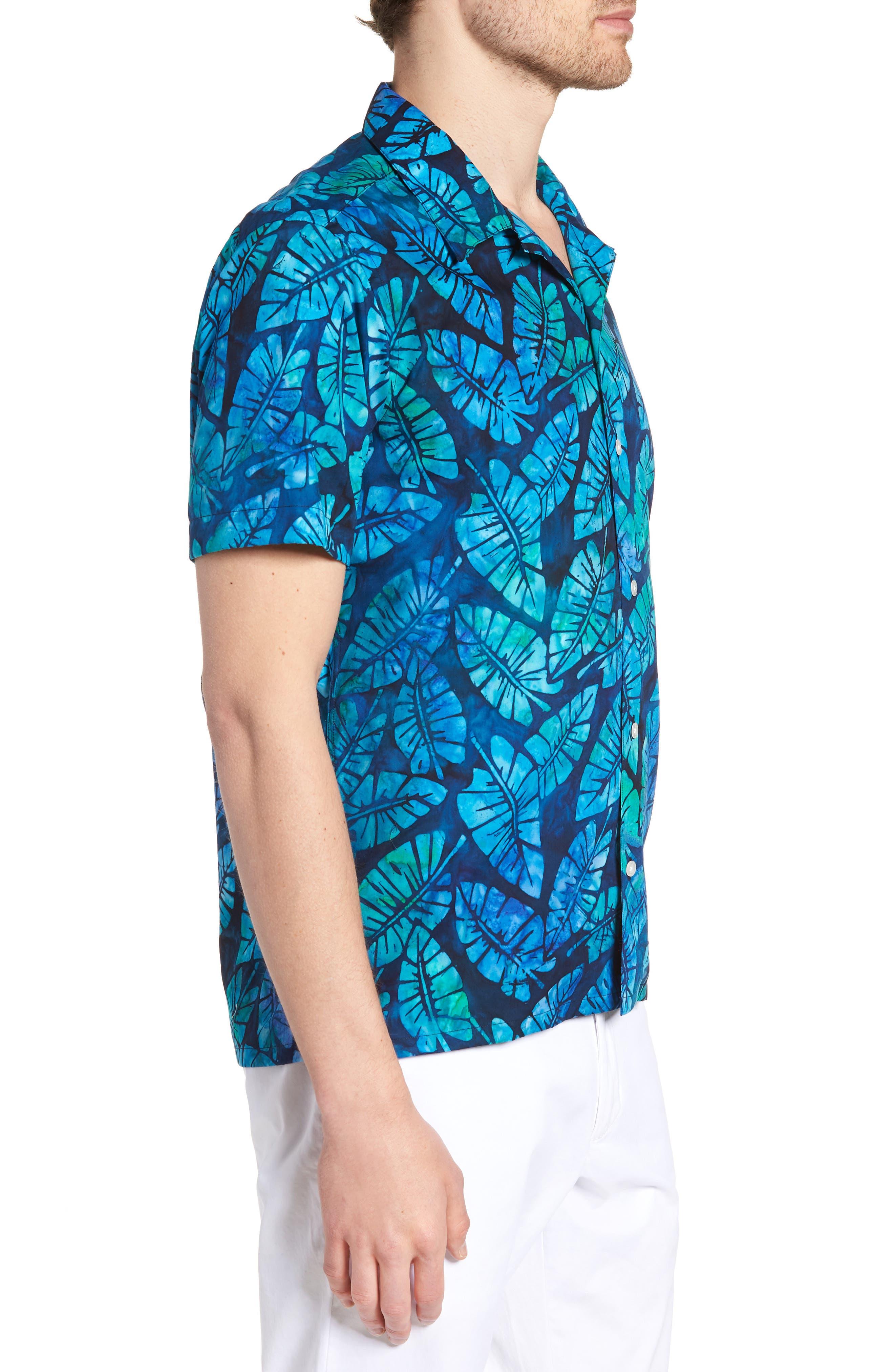 Kailua Trim Fit Print Sport Shirt,                             Alternate thumbnail 3, color,                             GREEN